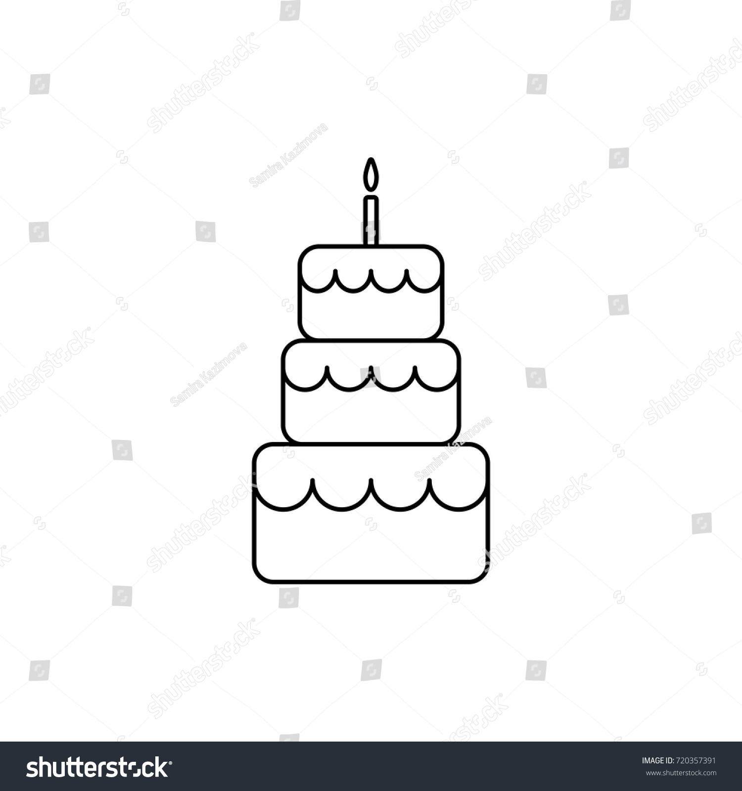 Birthday Cake Line Icon Outline Cake Vector Stock Vector Royalty