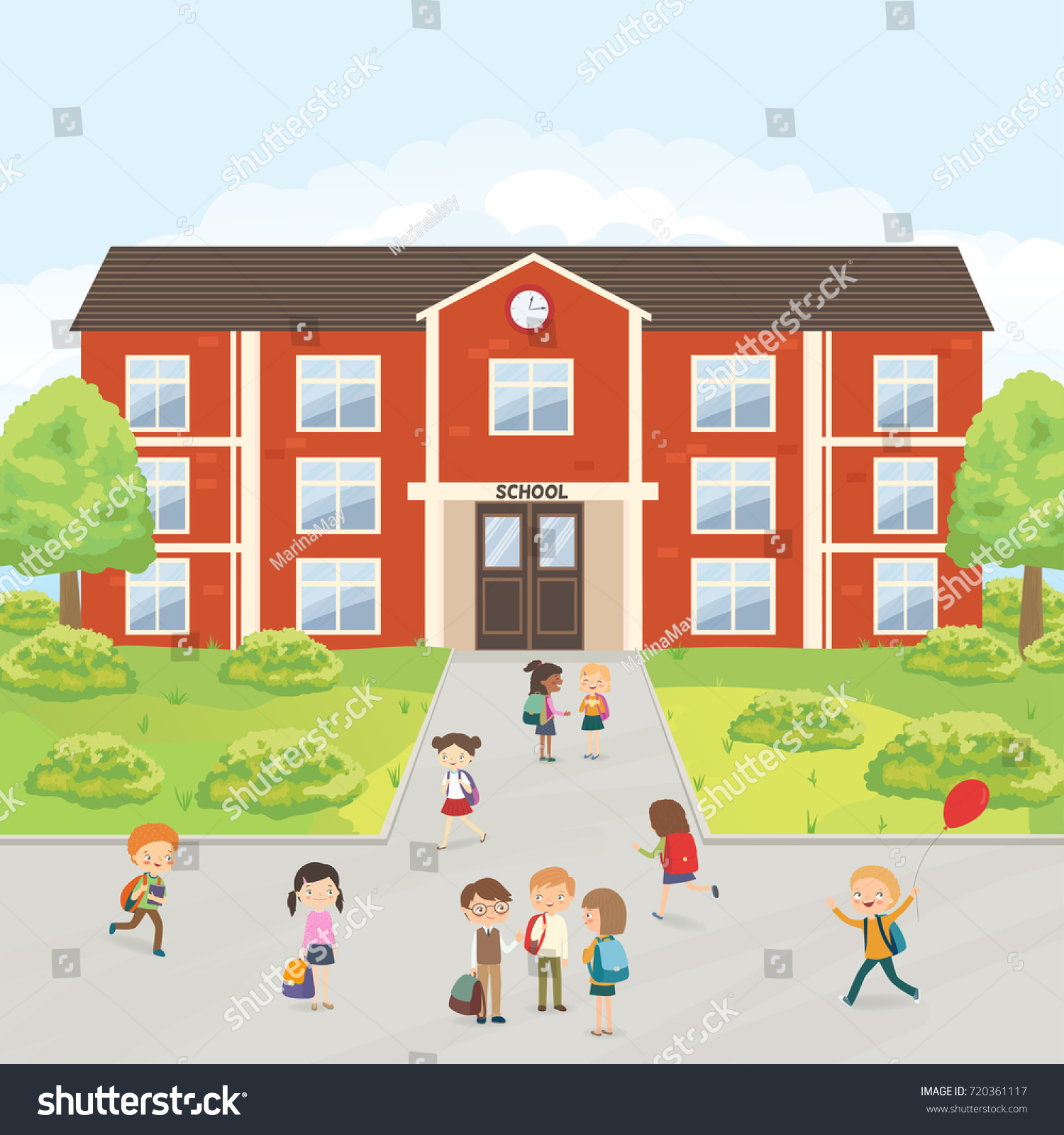 Group of elementary school kids in the school yard. Primary education.  Cartoon vector illustration