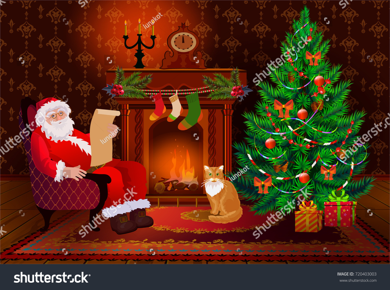 christmas living room interior xmas tree stock vector 720403003