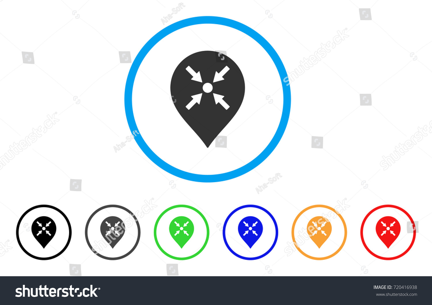 Meeting Point Marker Rounded Icon Style Stock Vector Royalty Free