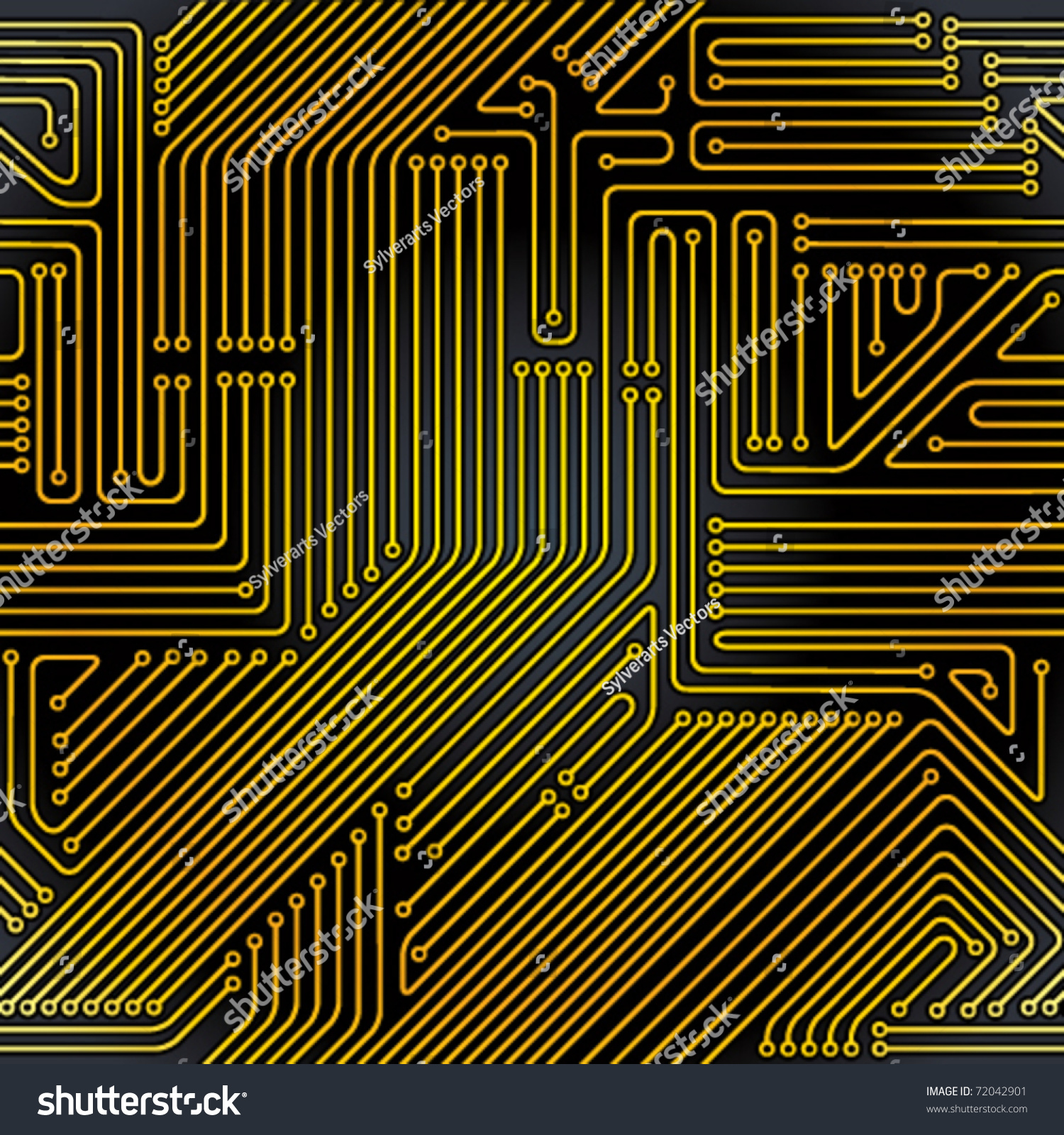 Seamless Pattern Computer Circuit Board Electronic Stock Vector Orange Themed Drawing Clipart Illustration Technology Background