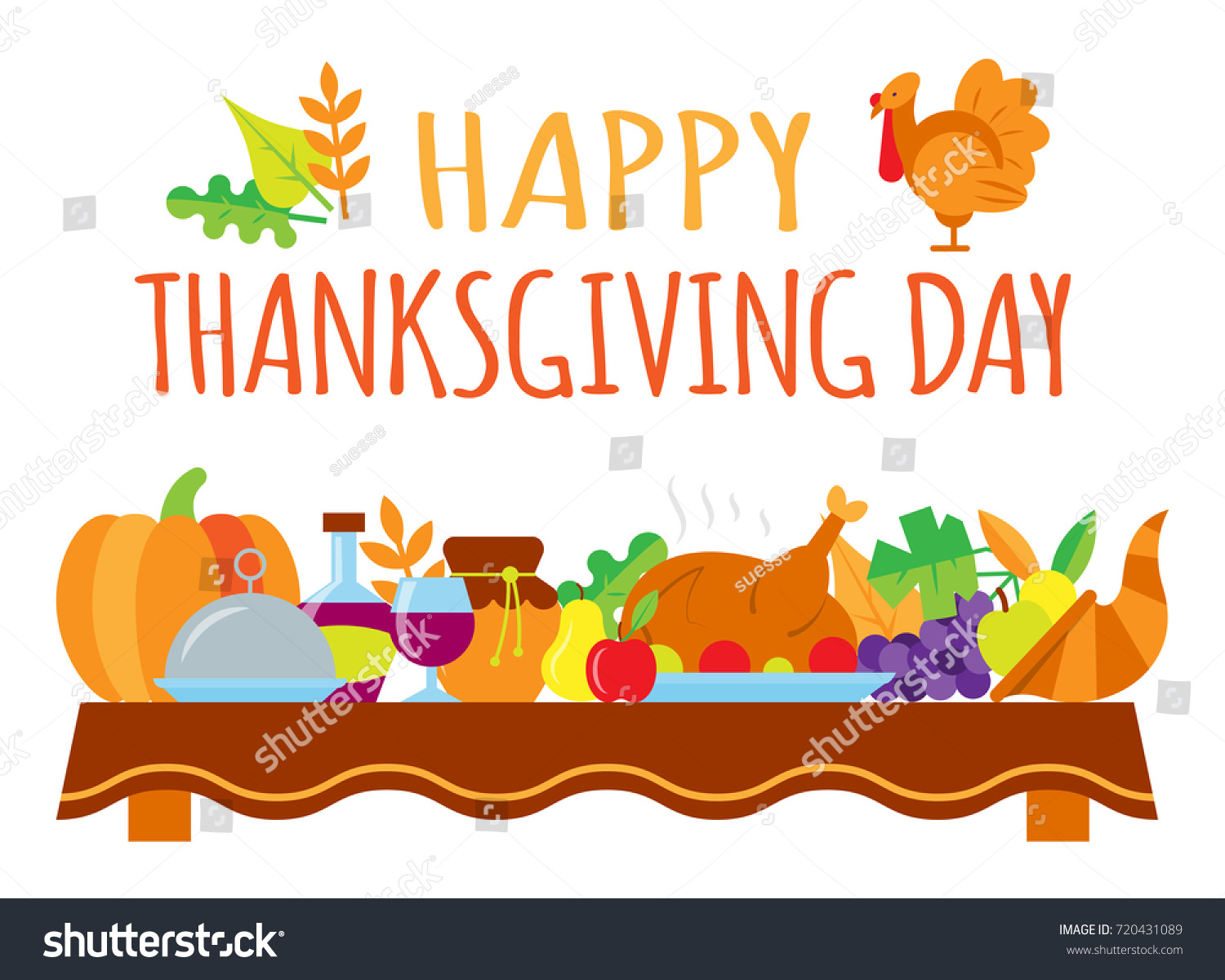Happy Thanksgiving Day Card Greeting Text Stock Vector