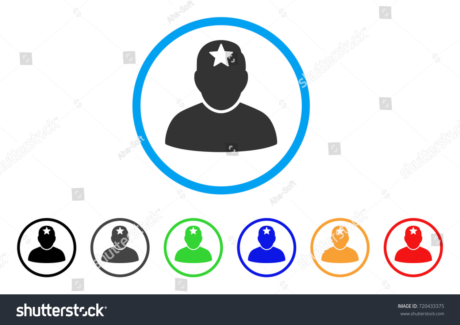 Star Person Rounded Icon Style Flat Stock Vector Royalty Free