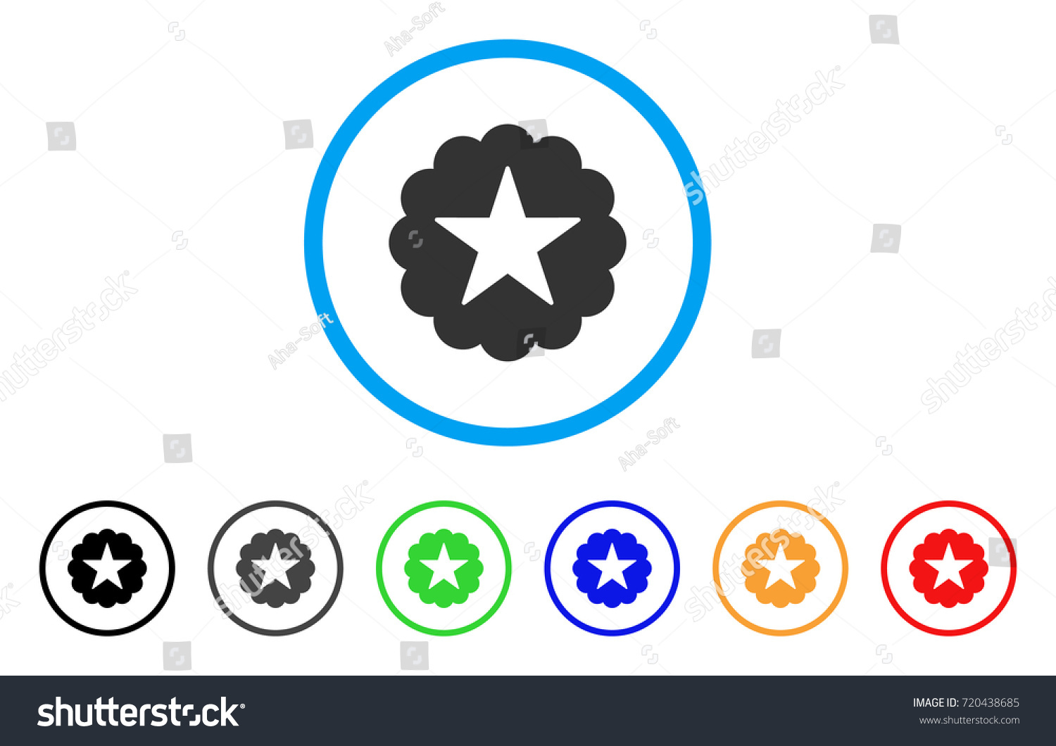 Star Quality Sticker Rounded Icon Style Stock Vector 720438685