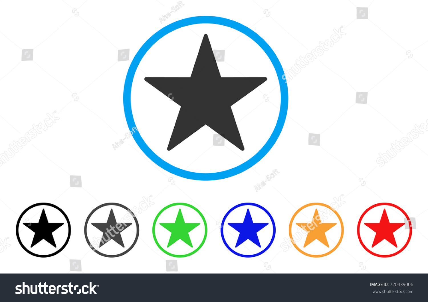 Star Rounded Icon Style Flat Star Stock Vector Royalty Free
