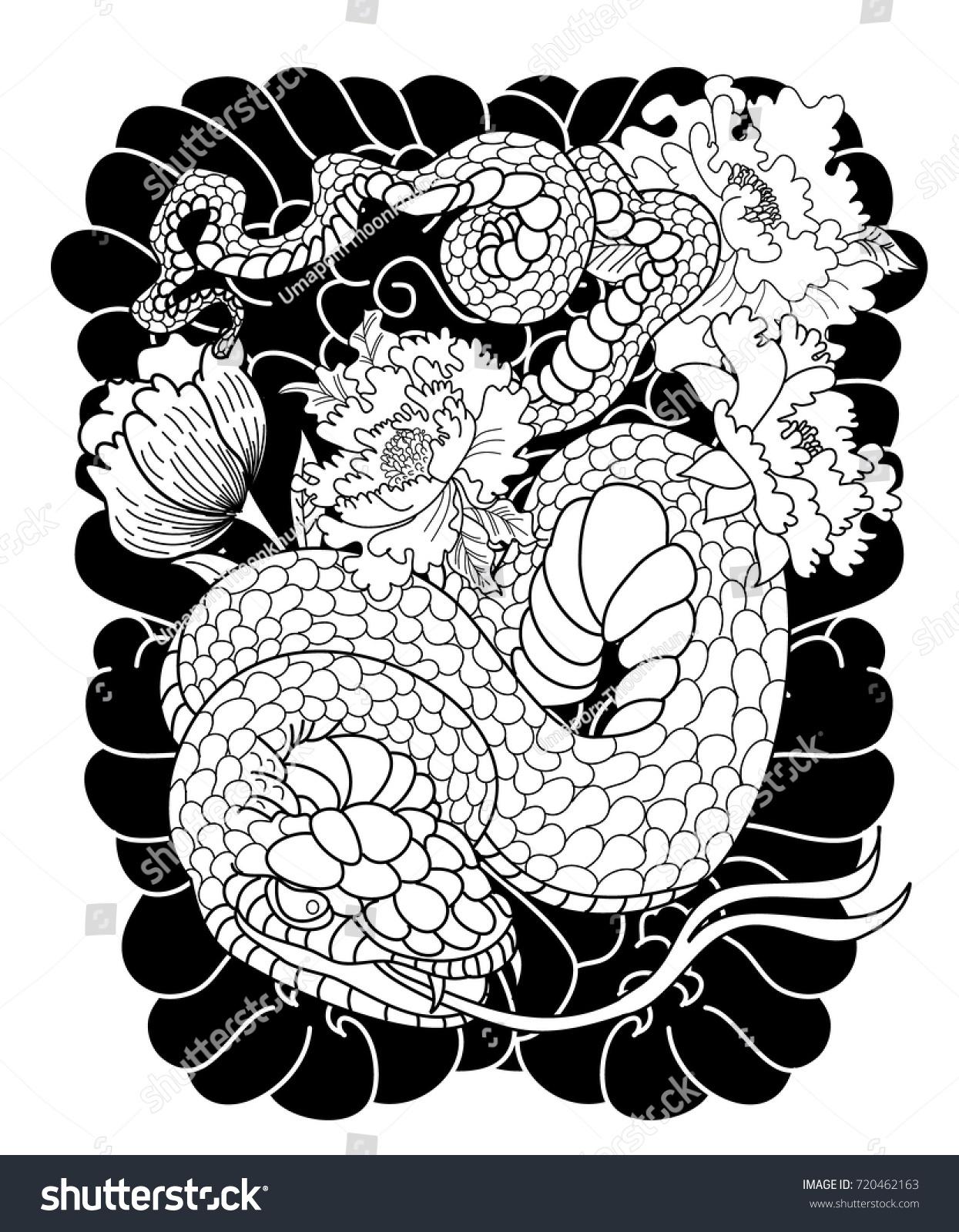 Black White Japanese Snake Peony Flower Stock Vector 720462163