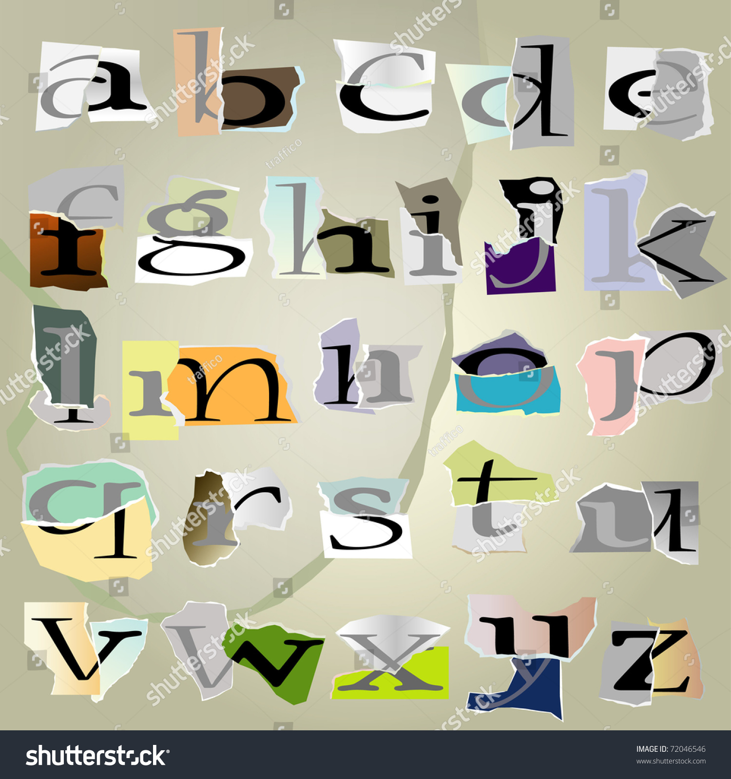 Vector Set Alphabet:Small Collage Latters Based On Ripped Paper ...