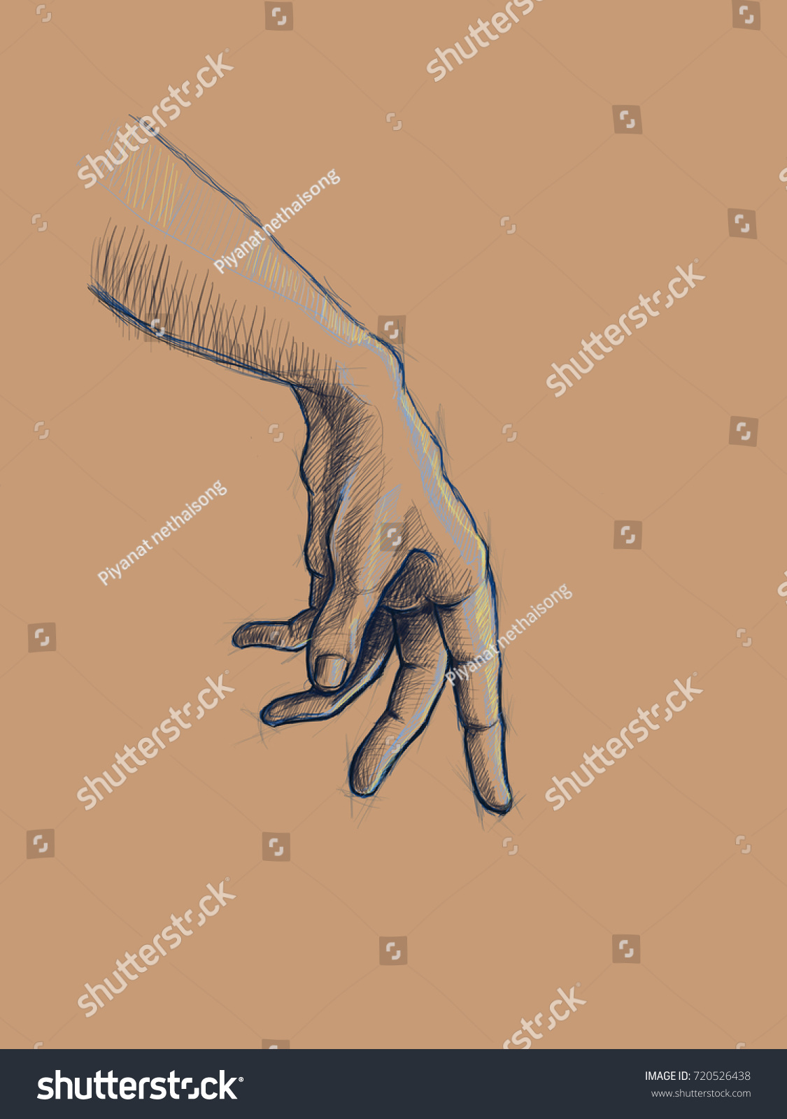 Hand Sketch Hand Drawing Digital Painting Stock Illustration ...