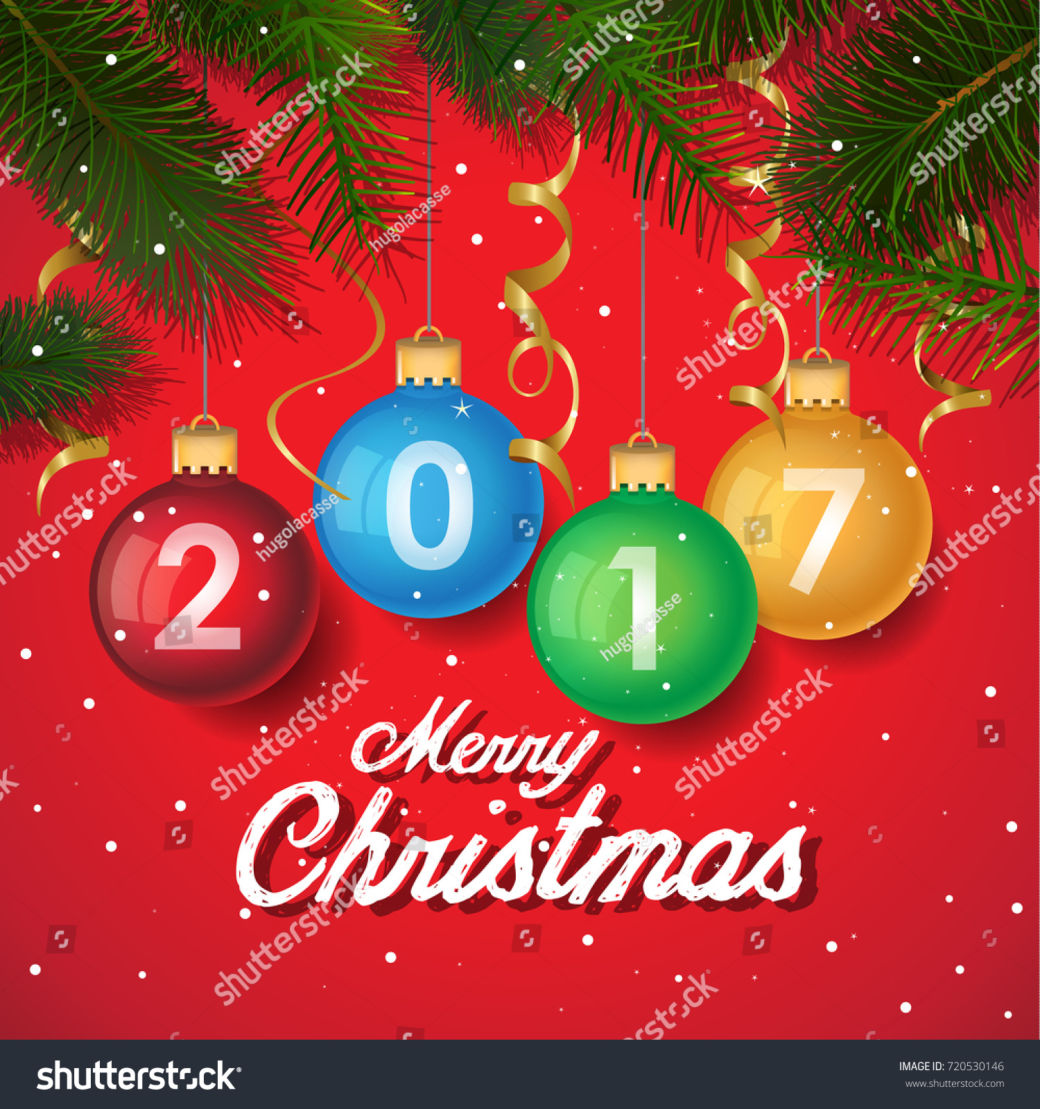 merry christmas 2017 decoration poster card background new year background with tree branches snowflakes