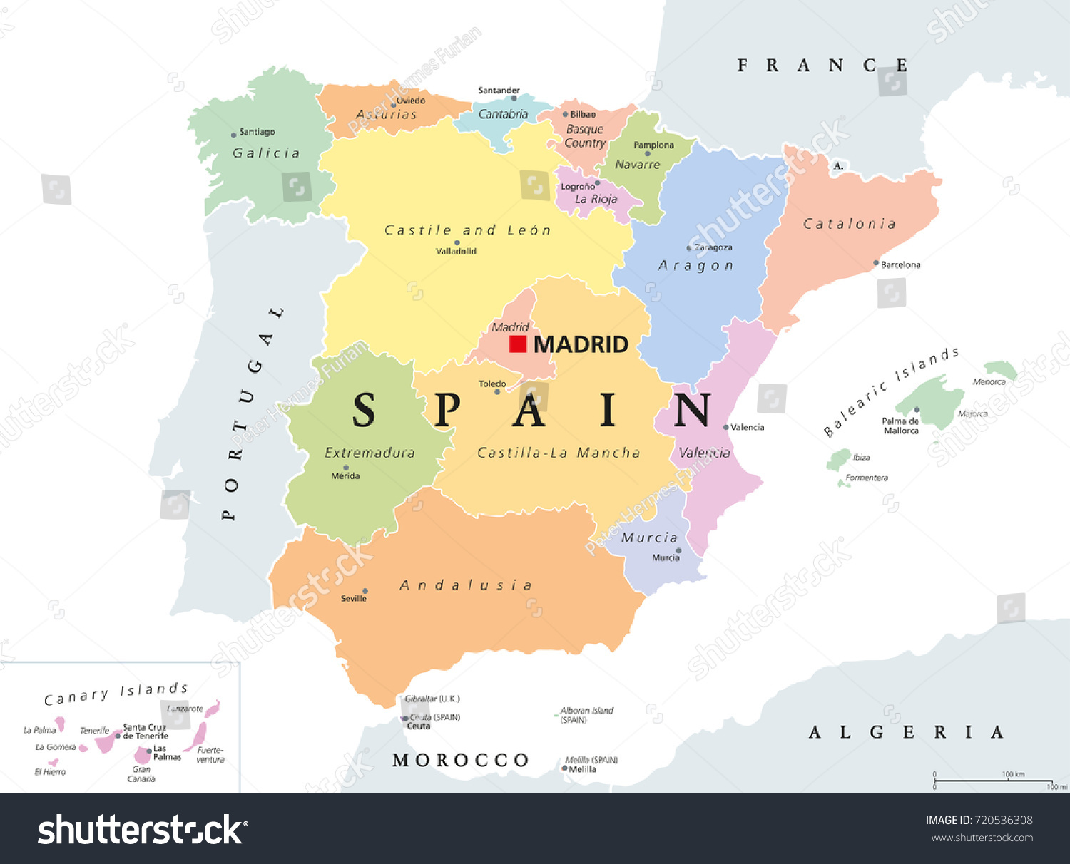 Spain Political Map Political Division Kingdom Stock Vector