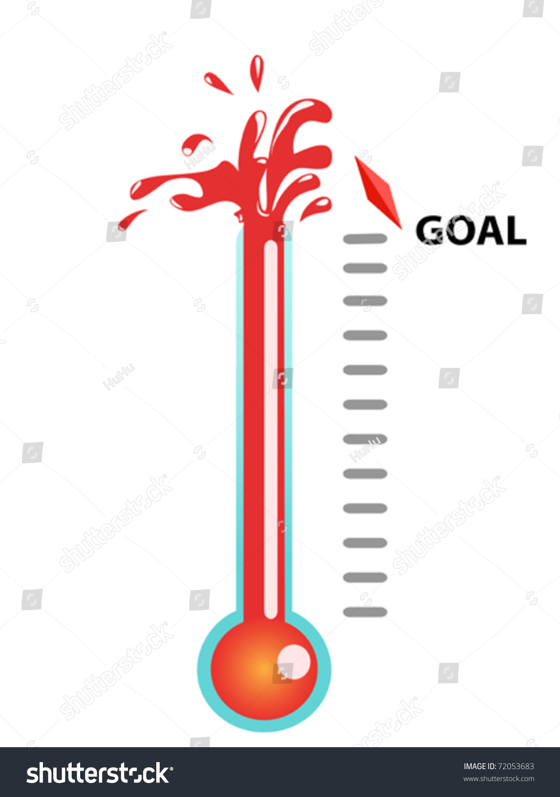 Thermometer Graphic Showing Breaking Goal Stock Vector 72053683 ...
