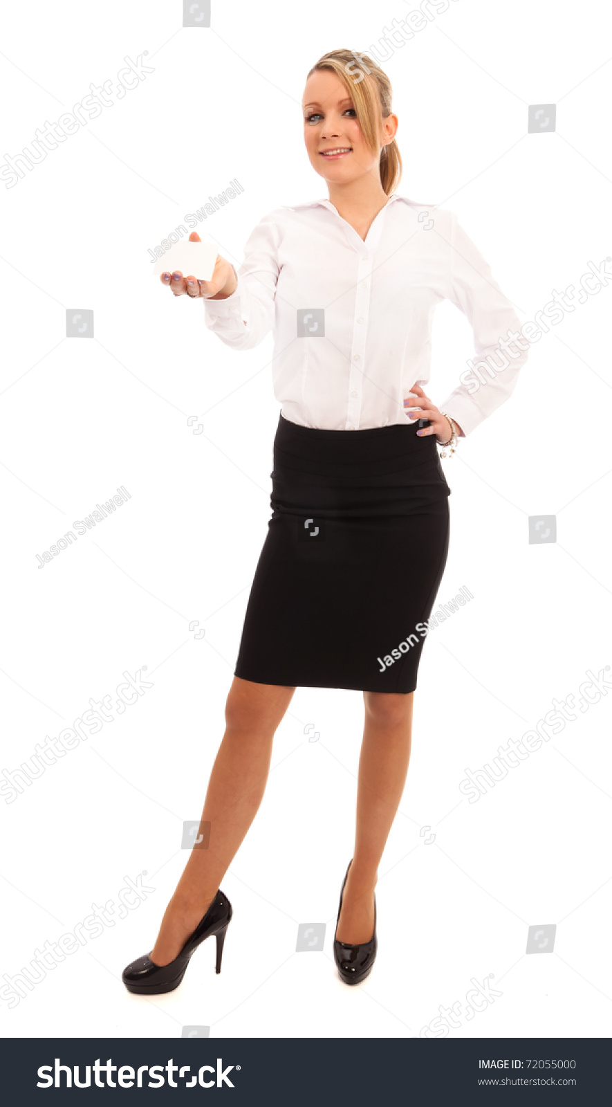 Wonderful Business Woman In A White Blouse And Skirt Stock Photography  Image