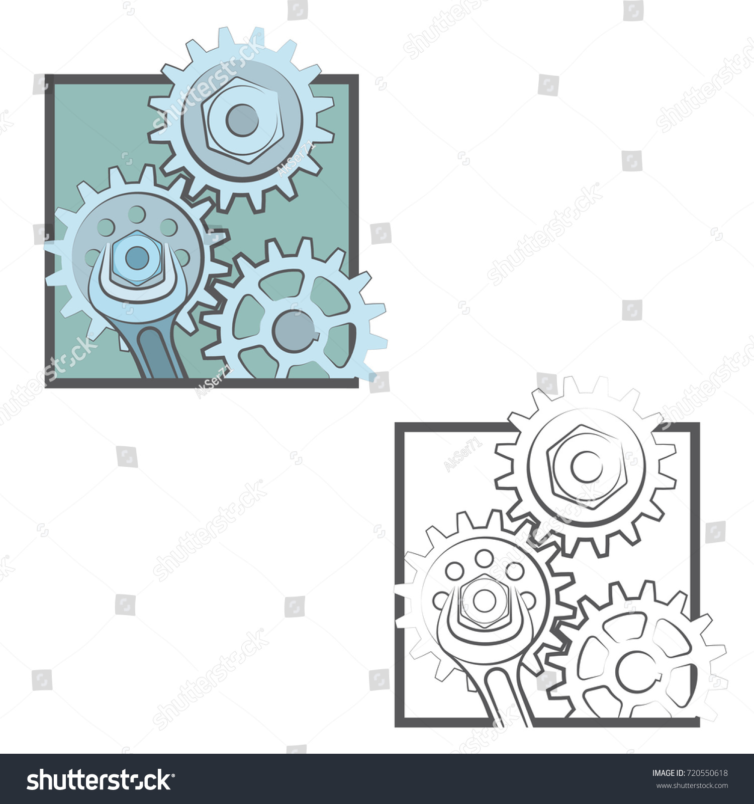 human brain with gears inside and circuit icon image | EZ Canvas