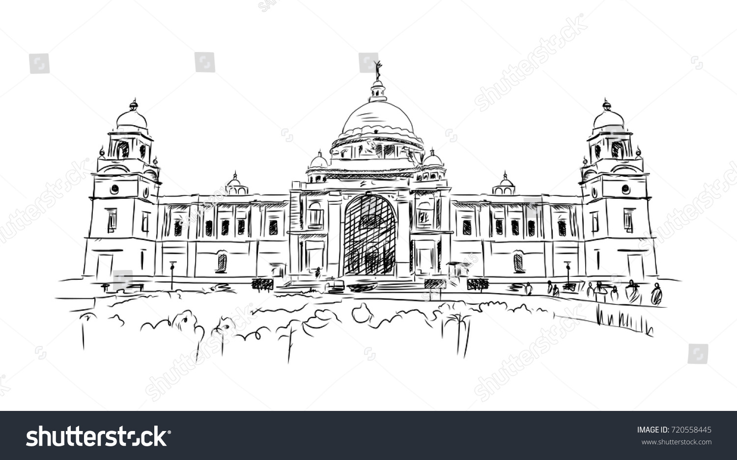 Line Drawing Of Queen Victoria : Sketch kolkata victoria memorial india vector stock