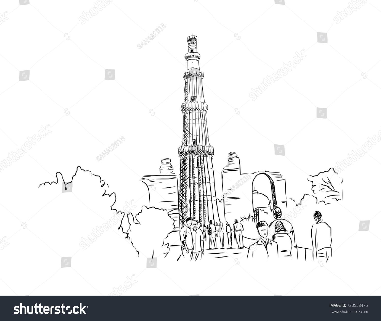 Line Drawing Of Qutub Minar : Sketch qutub minar new delhi india stock vector