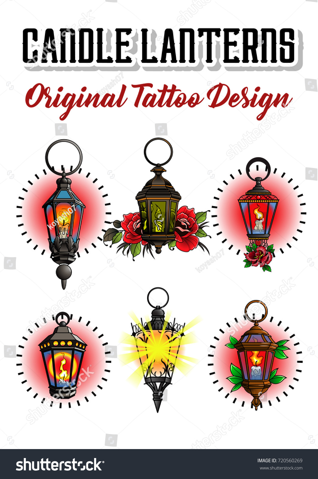 Vector Old Candle Lanterns Tattoo Design Stock Vector Royalty Free 720560269
