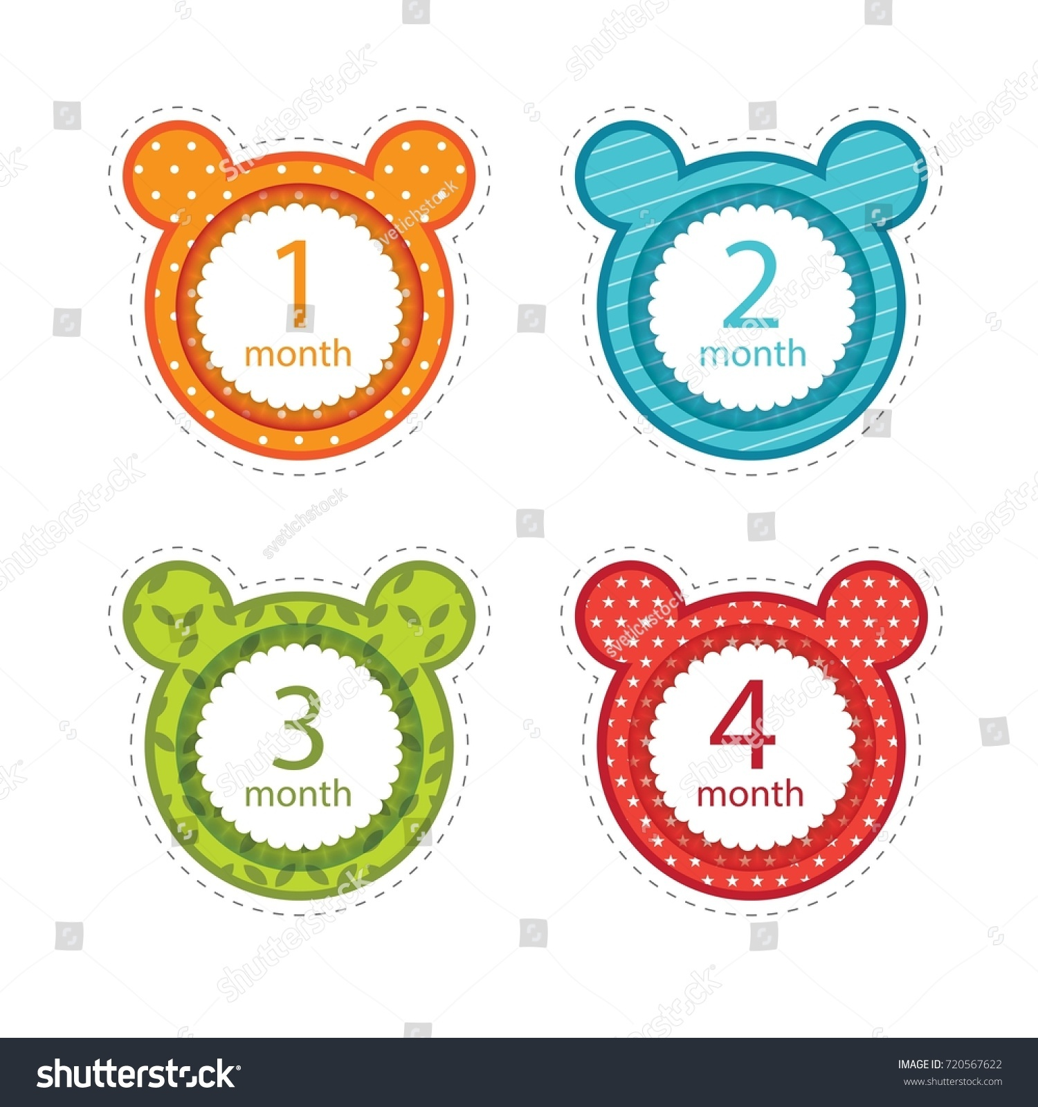 Stickers Months Birth Baby Stock Vector 720567622 Shutterstock