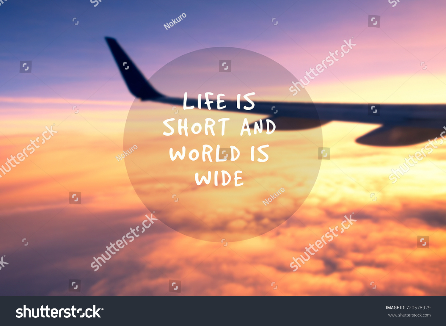 Short Quotes About Life Travel Inspirational Quotes Life Short World Stock Photo 720578929
