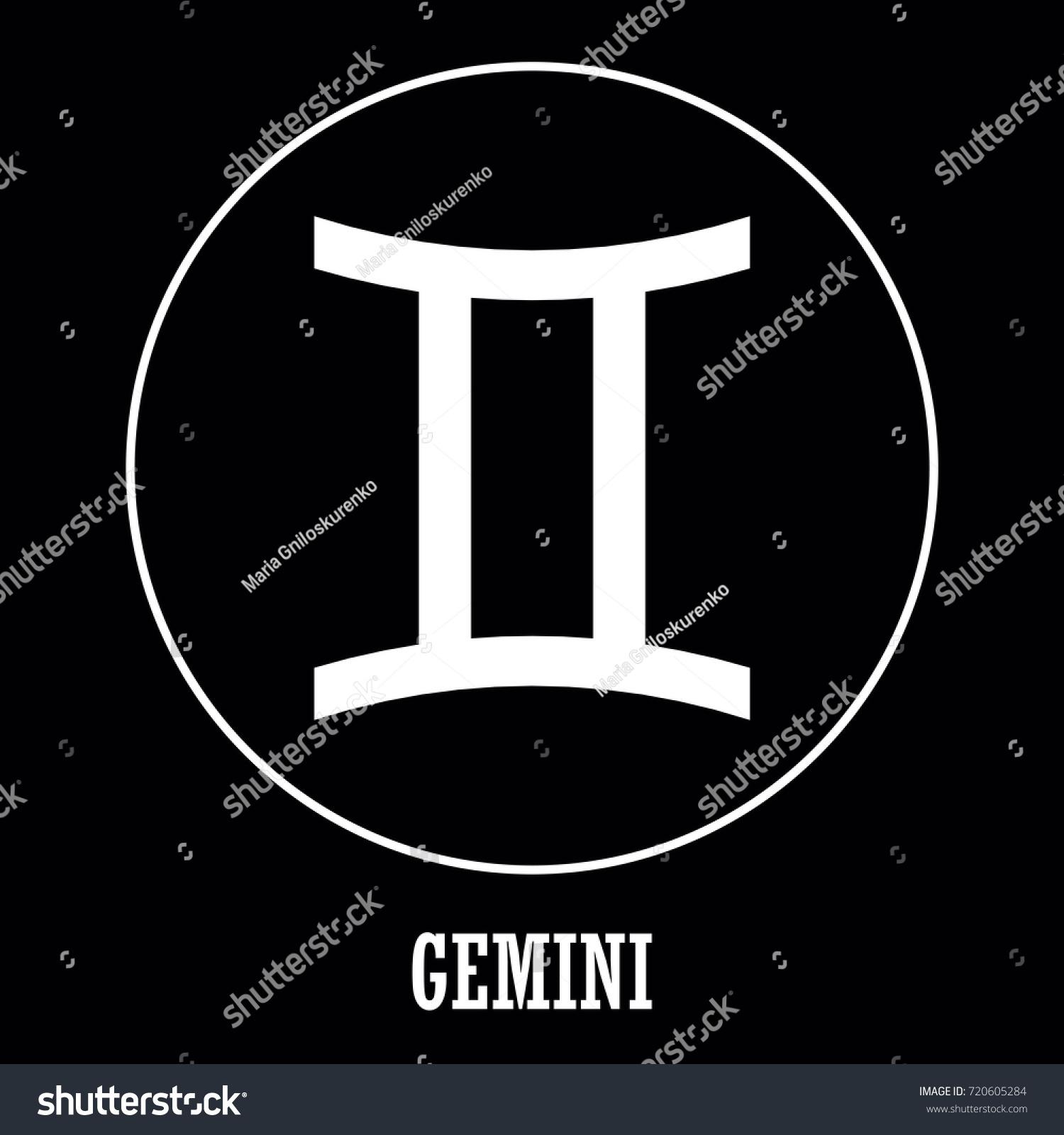 Vector Zodiac Sign Gemini On Black Stock Vector Royalty Free