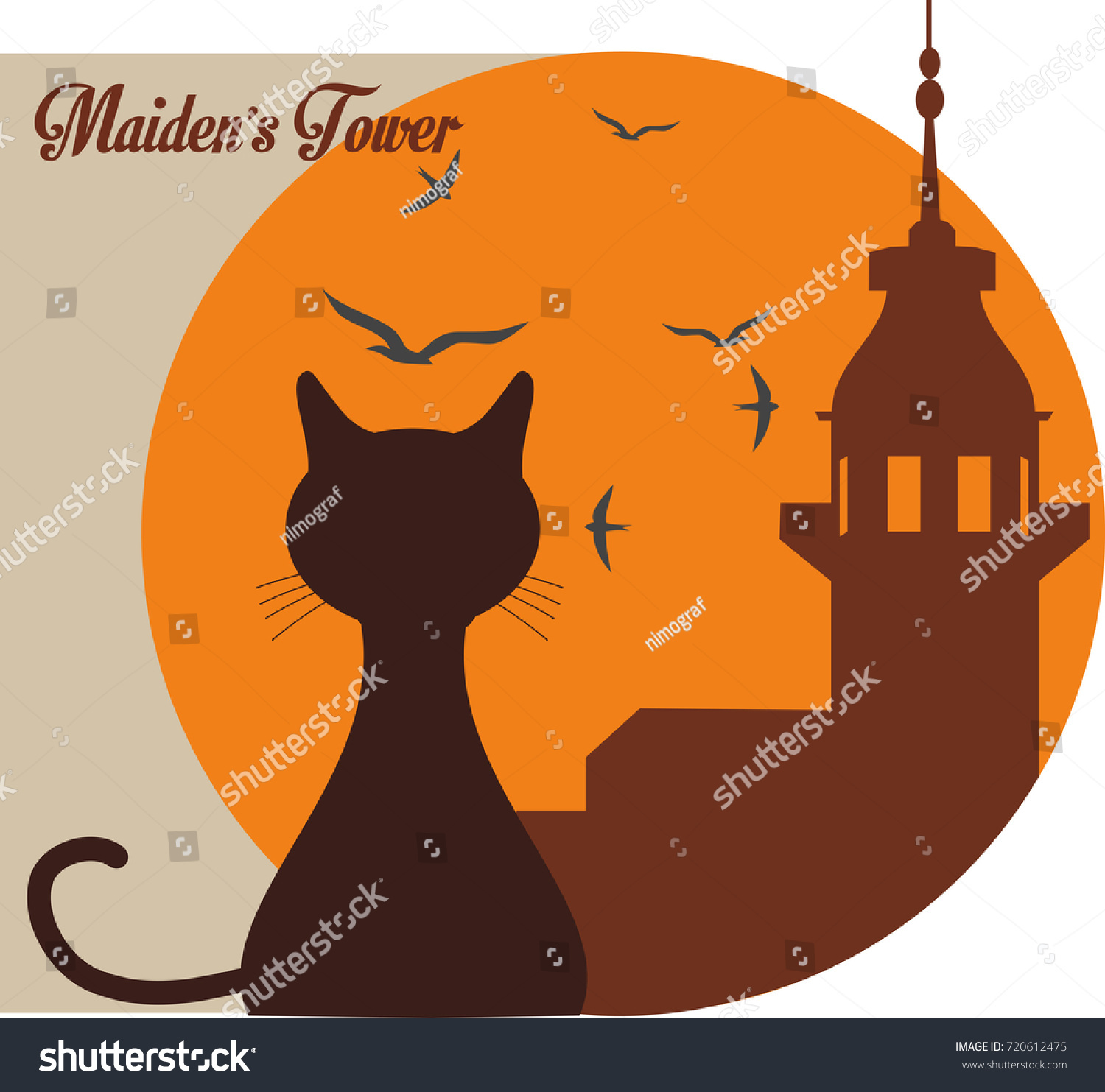 vector illustration silhouette drawing maidens tower stock vector
