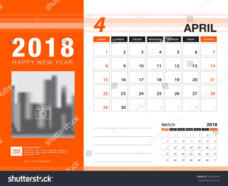 april calendar 2018 template
