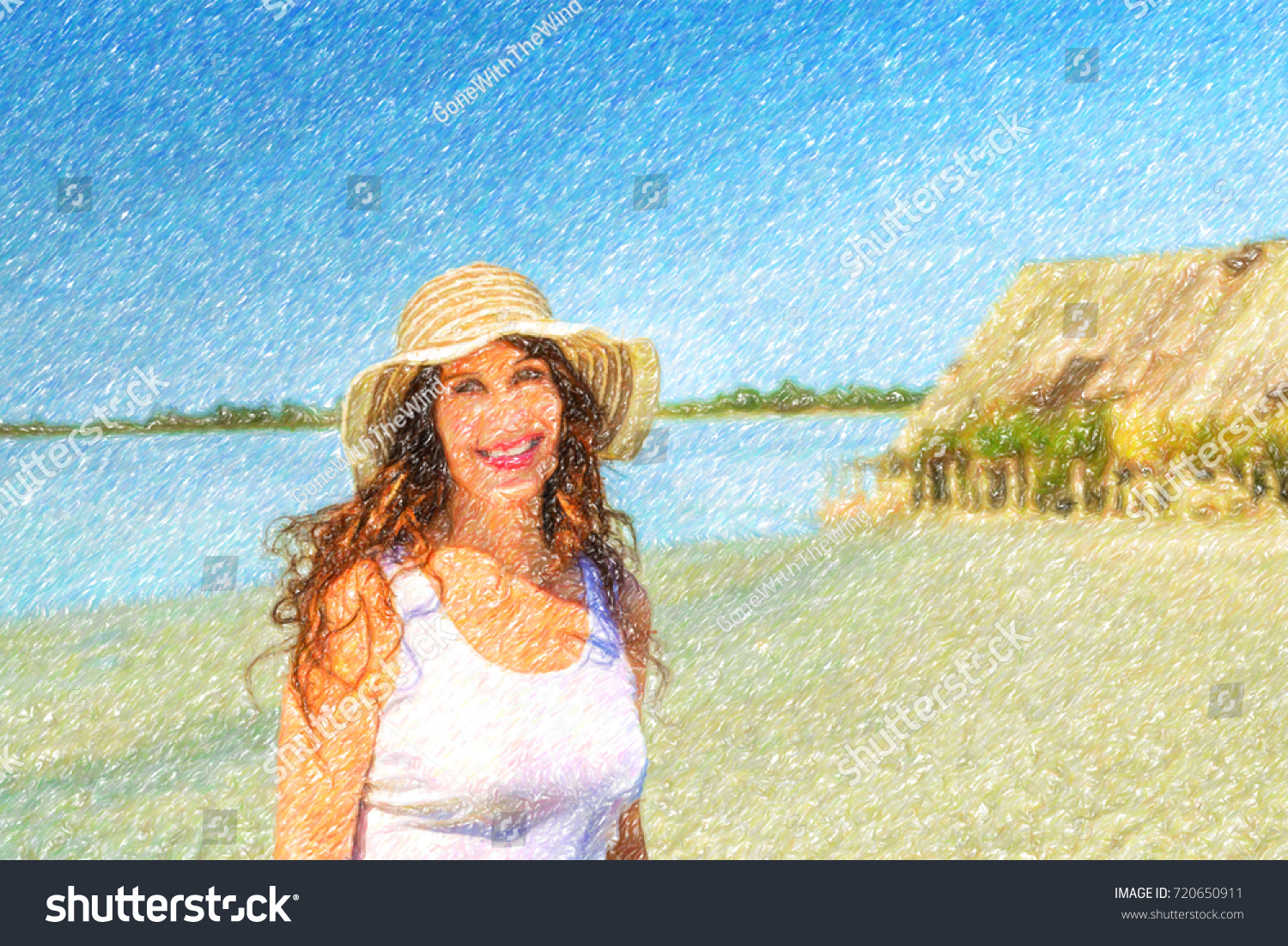 Attractive mature busty woman in very good shape with wide hat on a sun  split beach