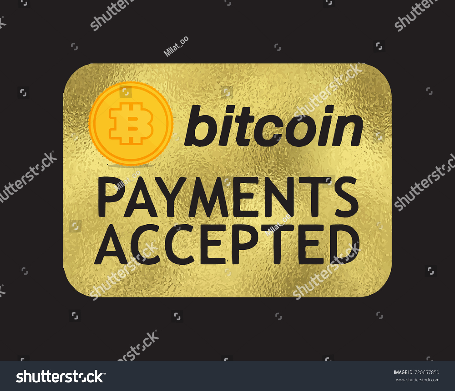 Vector Gold Bitcoin Door Sign Cryptocurrency Banking Payment Accepted Pay For E Bysunee