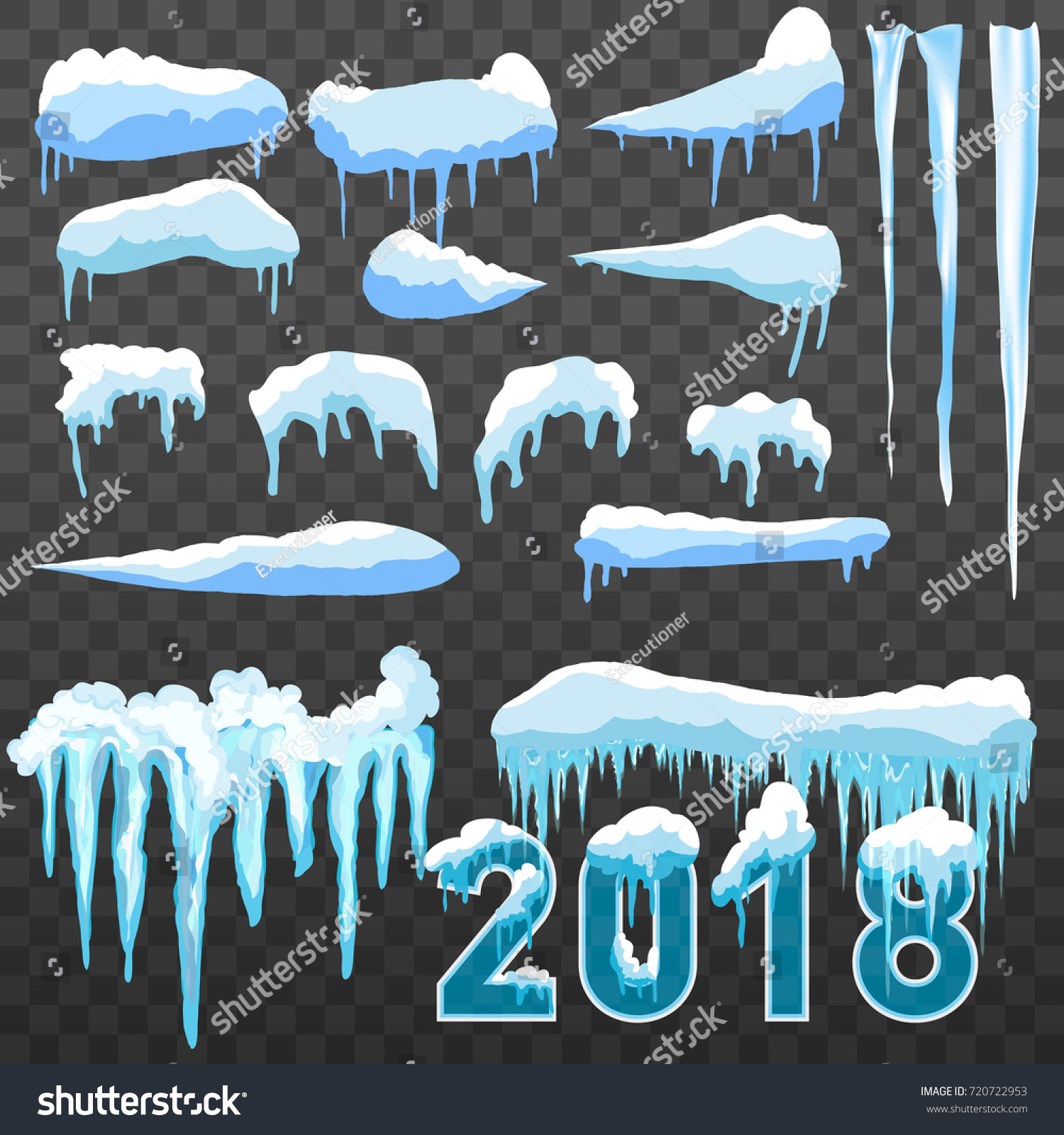 text 2018 snow ice icicle set stock vector royalty free 720722953