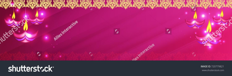 creative oil lamps diwali celebration social media banner glowing stock vector