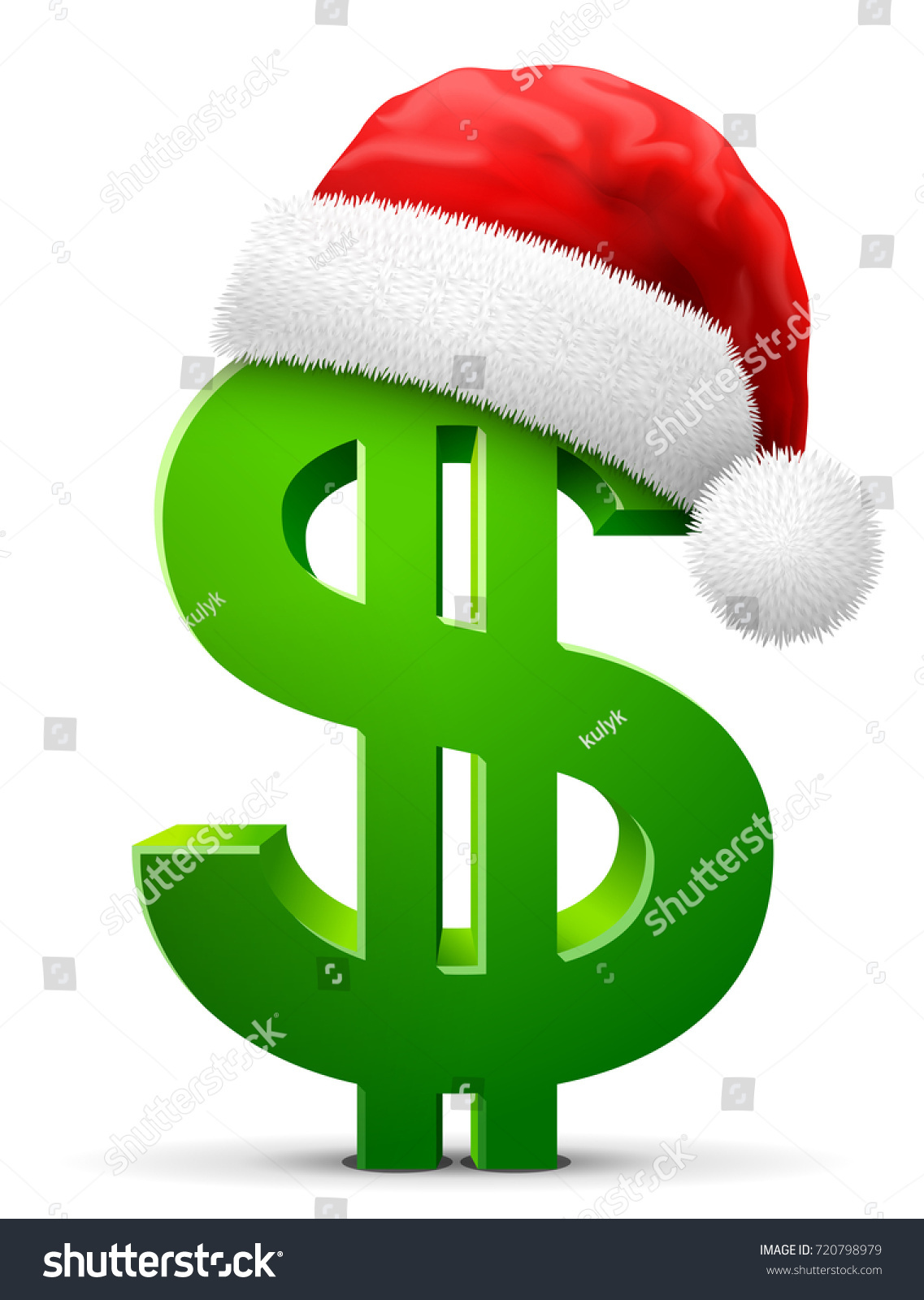 972d8bbc Dollar symbol in red Santa Claus hat. Christmas hat is put on money sign. Best  vector illustration for christmas, banking, new years day, business, ...