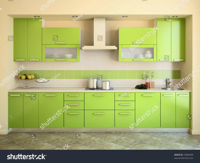 Modern Green Kitchen Interior 3d Render