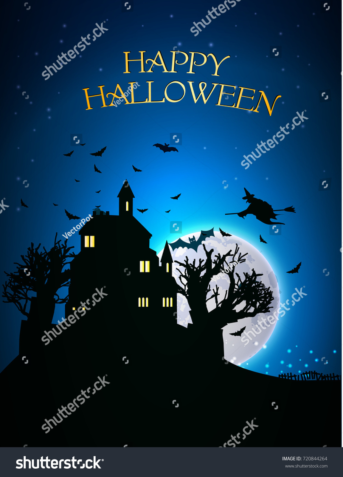 Happy Halloween Template Scary House Trees Stock Vector (Royalty ...