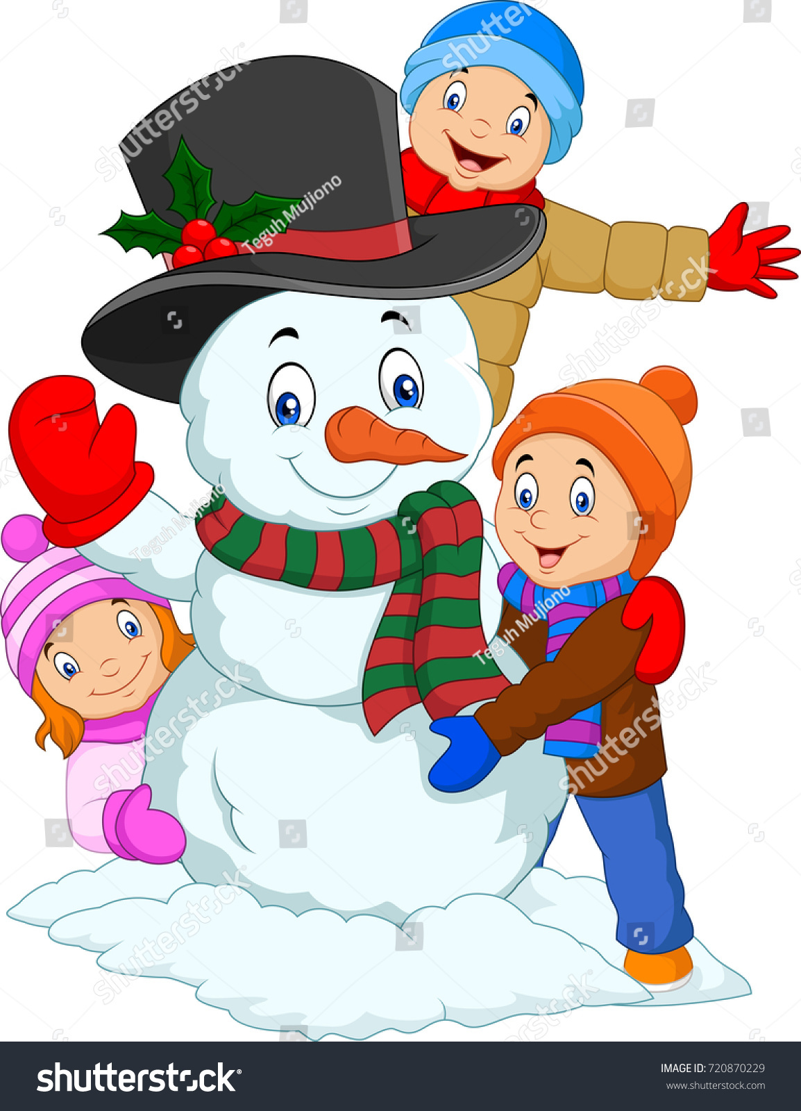 cartoon kids playing snowman isolated on stock vector 720870229