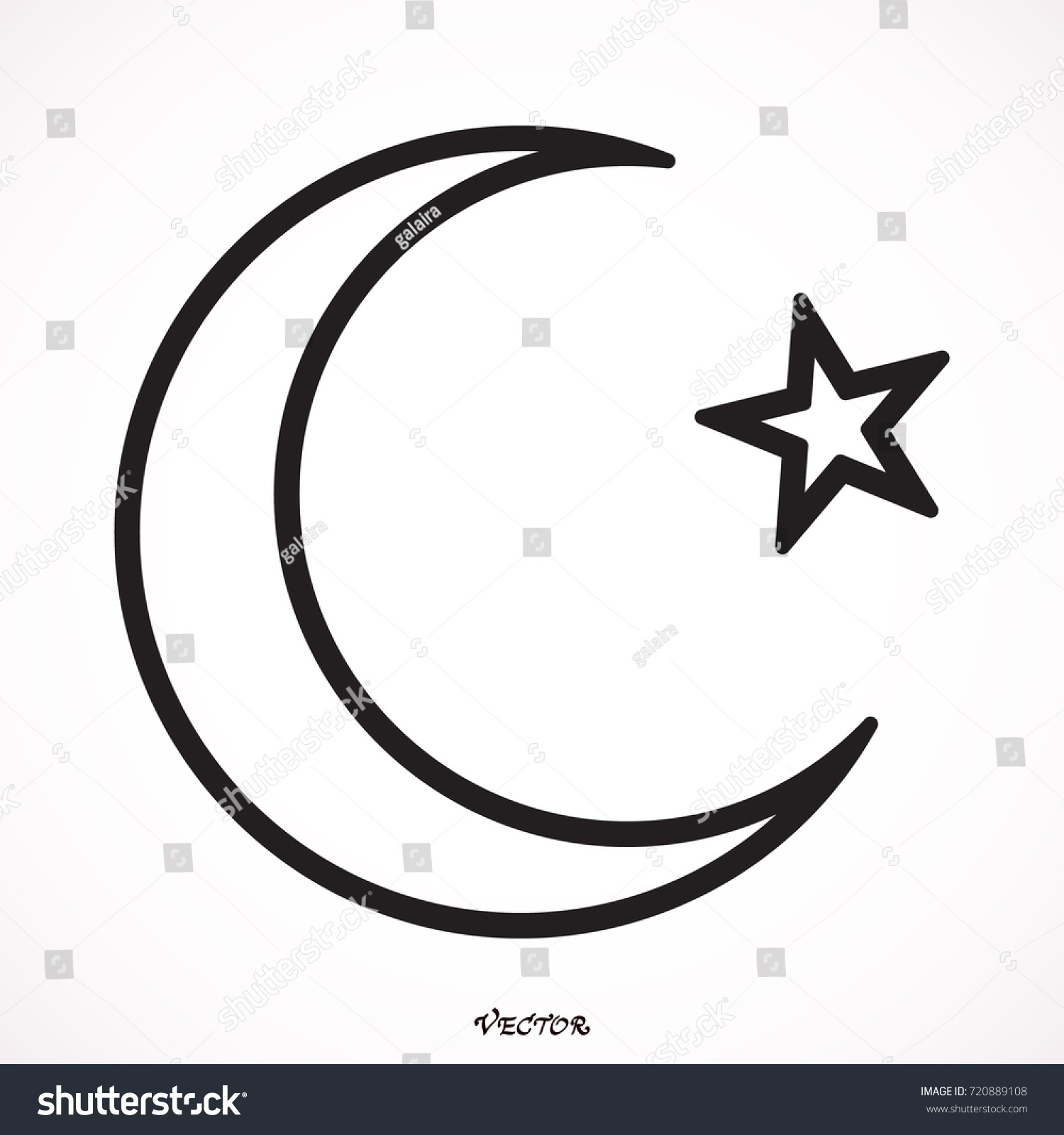Islam symbol moon star icon isolated stock vector 720889108 islam symbol moon and star icon isolated on white background biocorpaavc Images