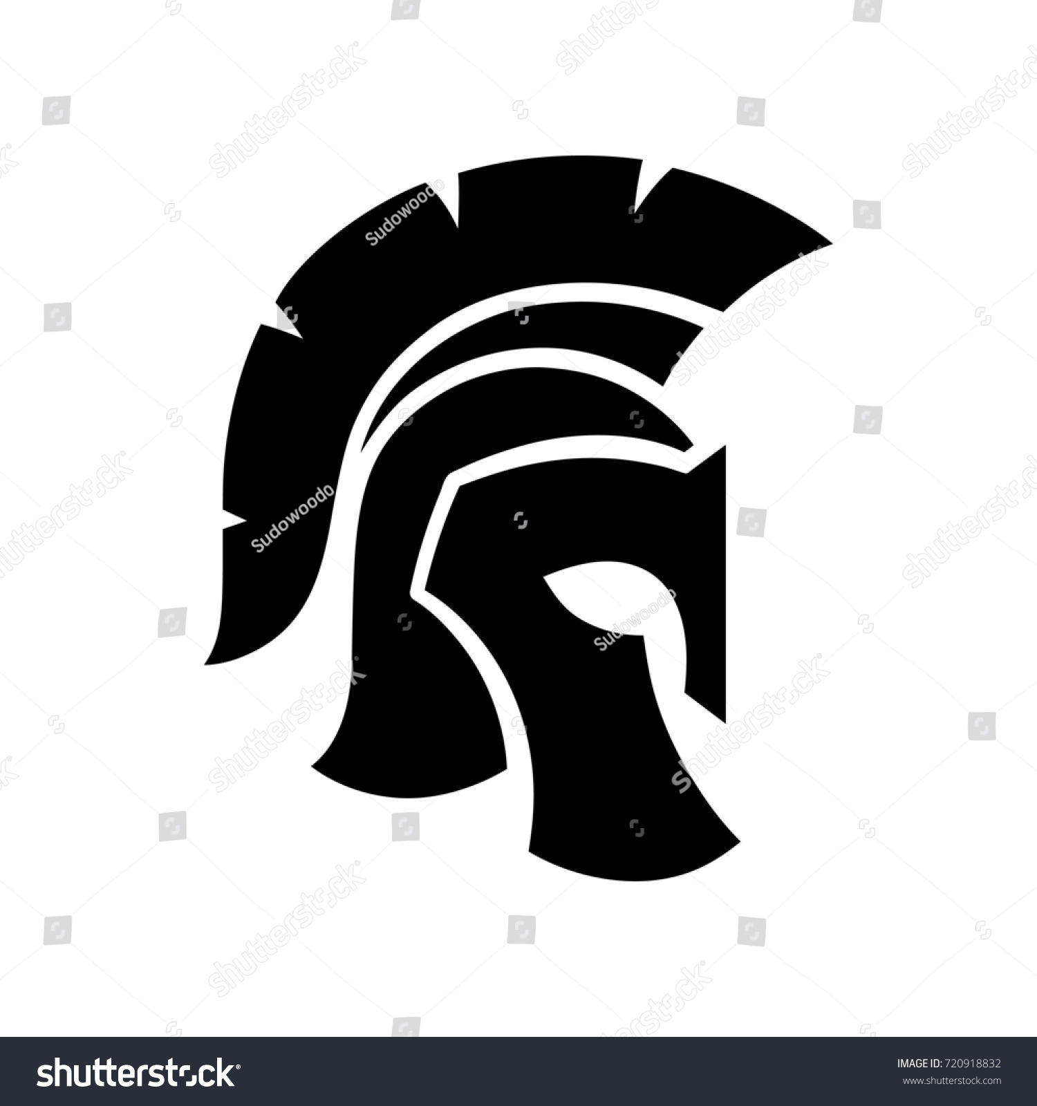 gladiator helmet silhouette icon greek romanのイラスト素材 720918832
