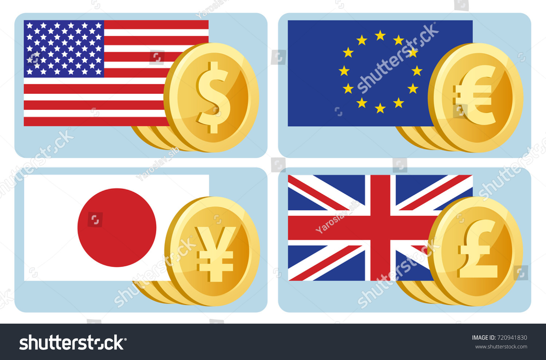 Currency Symbols Dollar Euro Yen Pound Stock Vector 720941830