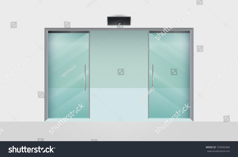 Empty Shop Boutique Open Glass Doors Stock Vector Royalty Free