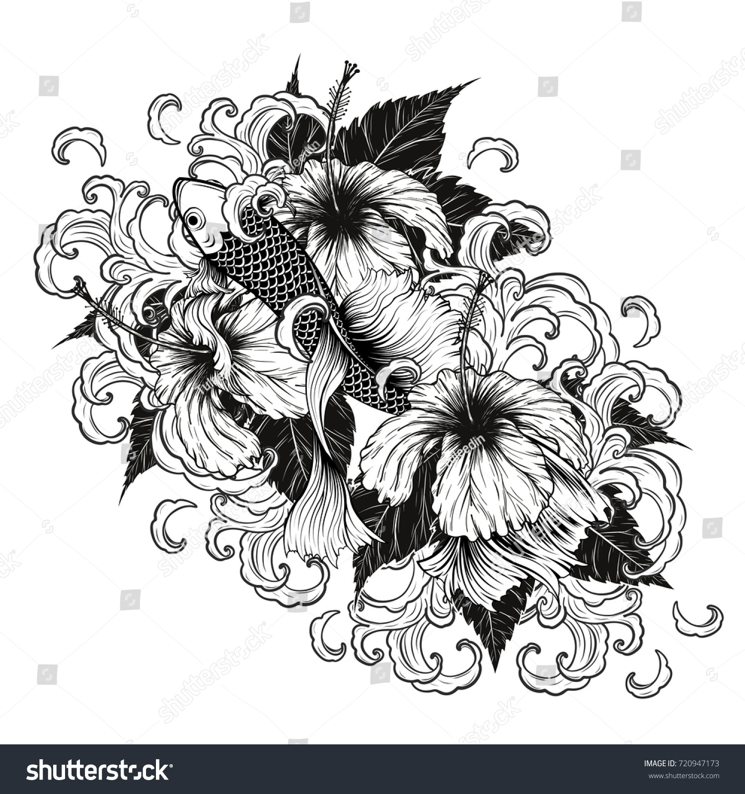 Koi Fish And Hibiscus Tattoo By Hand Drawing Art Highly