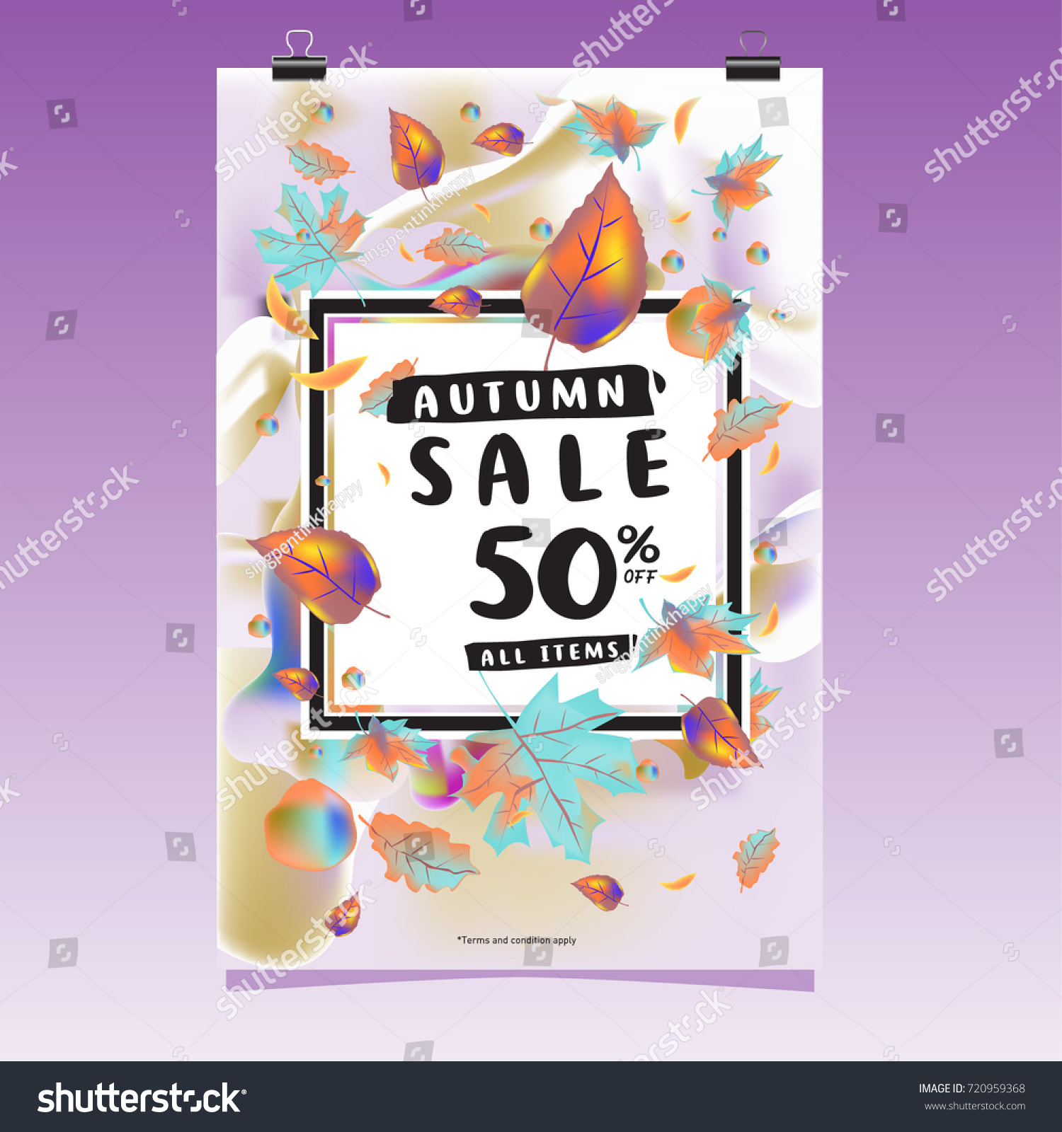 vector autumn sale poster template lettering stock vector royalty