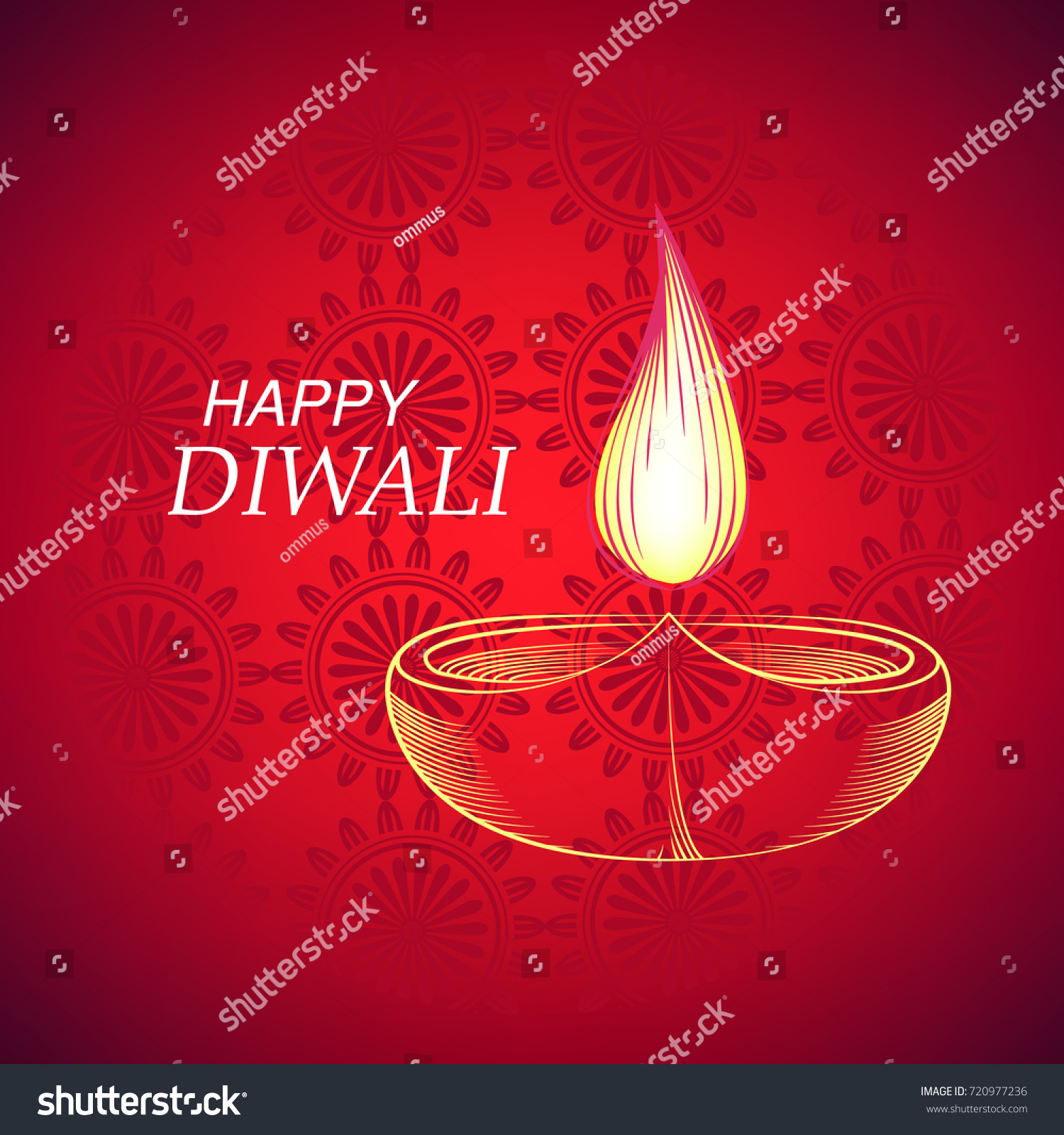 Indian Festival Lights Happy Diwali Greeting Stock Vector Royalty