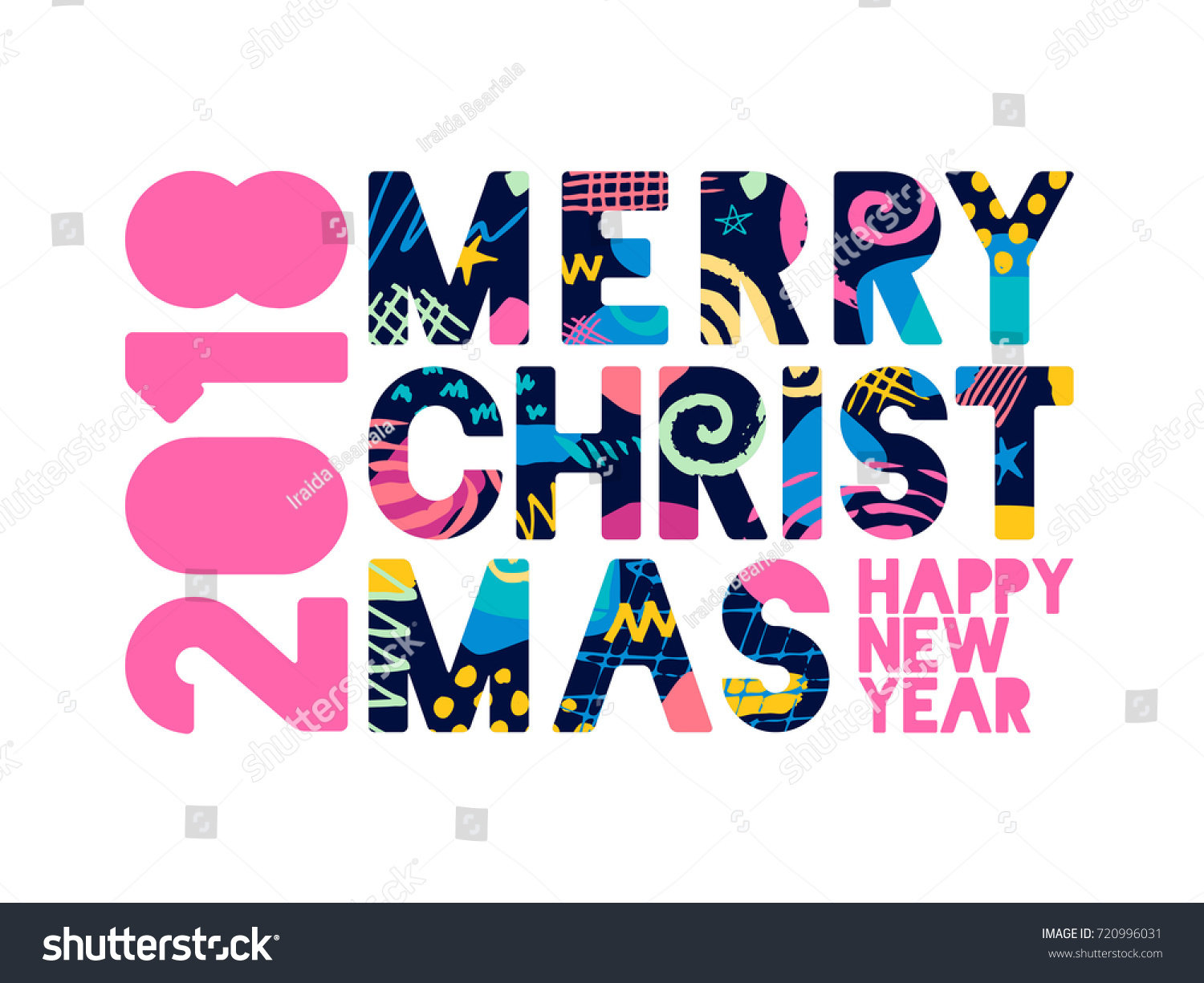 2018 merry christmas happy new year greeting card with abstract elements on white background