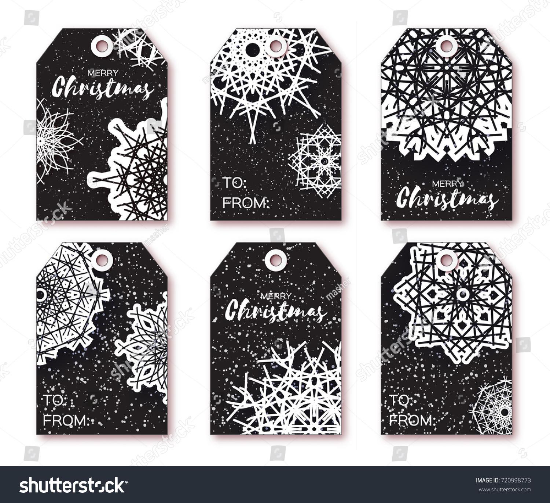 Black Christmas Labels Origami White Snowflake Stock Illustration