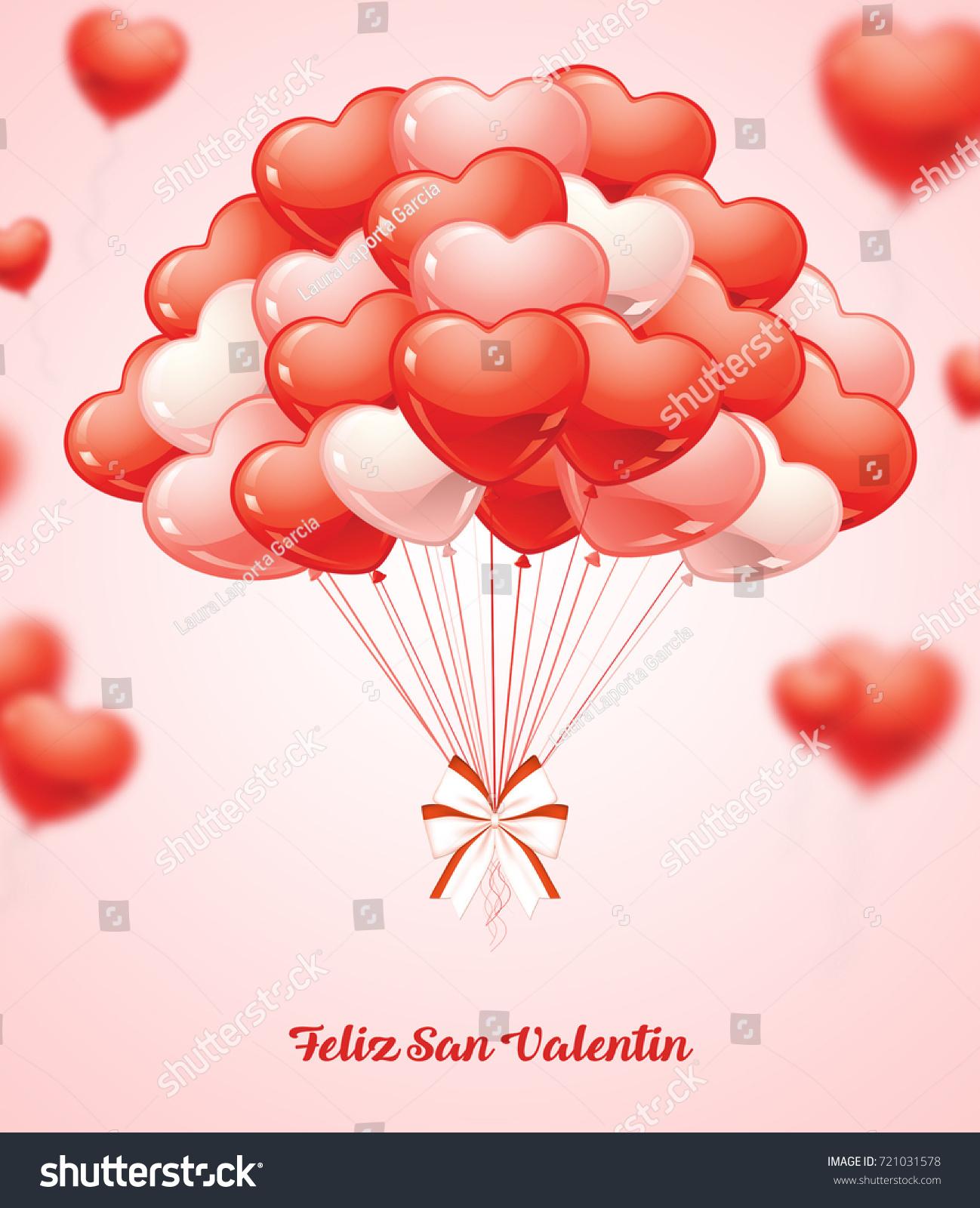 illustration flying bunch red balloon hearts stock illustration