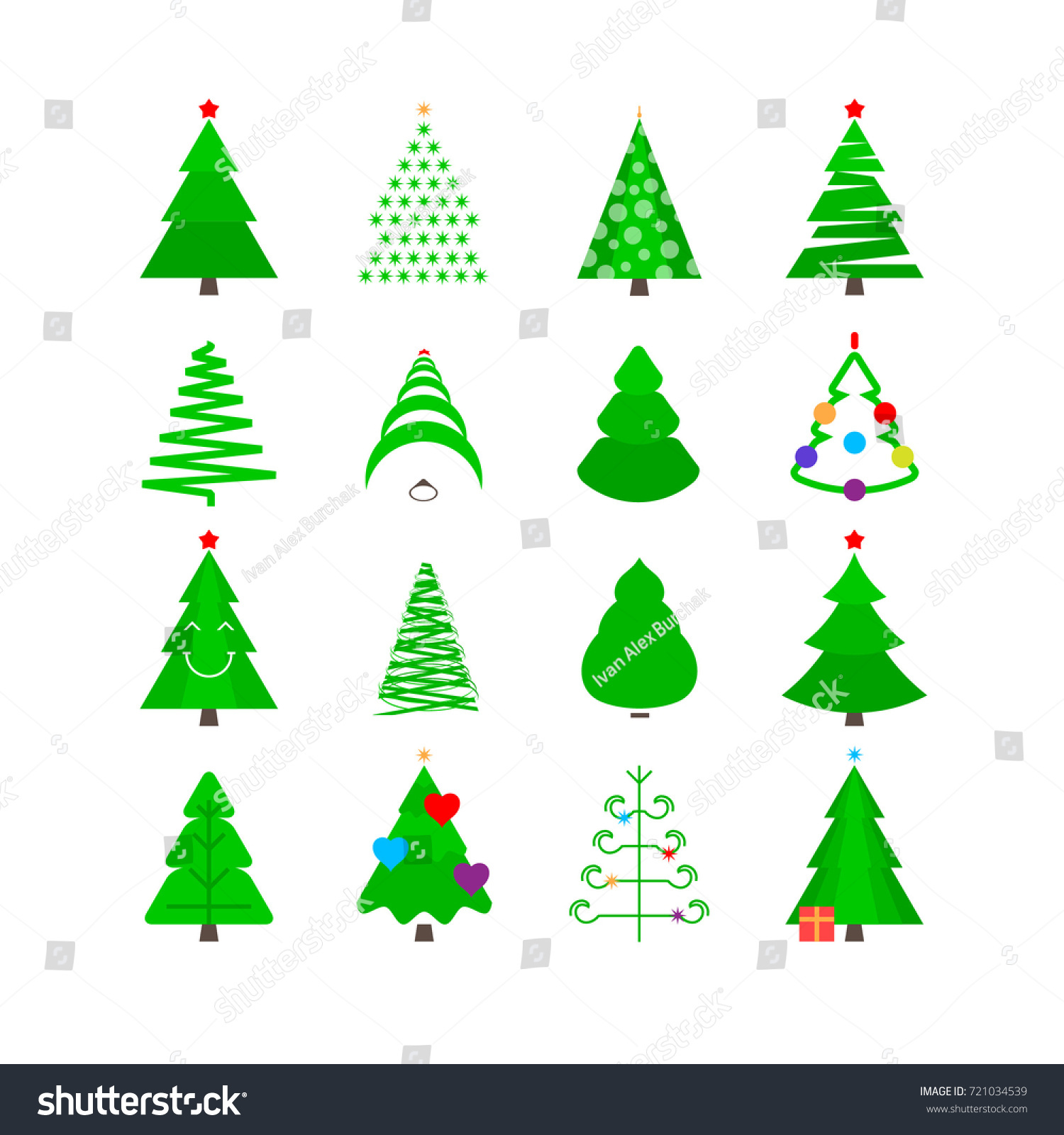 christmas tree vector icon set christmas trees in different forms with toys green stylized - Christmas Tree Types