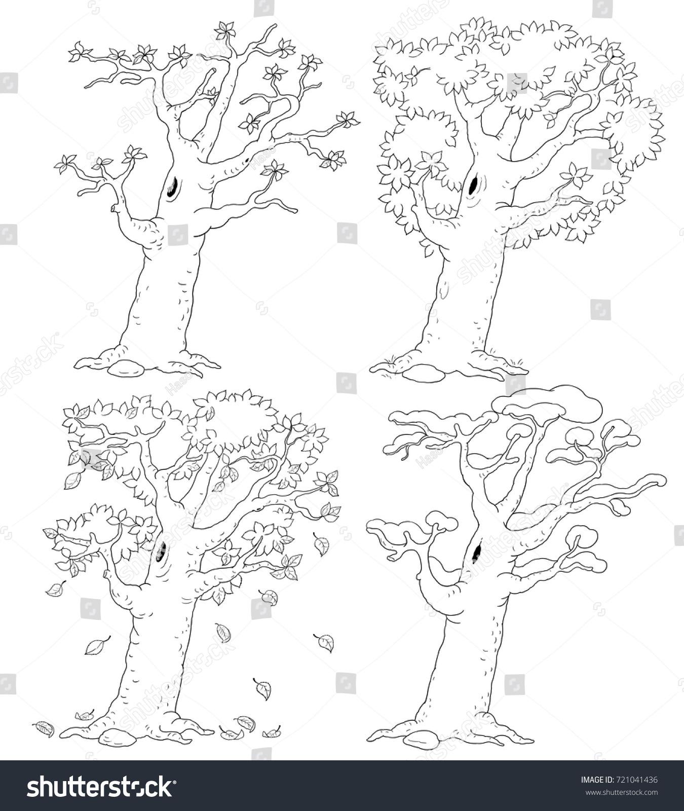 Four Seasons Spring Summer Autumn Winter Stock Illustration ...
