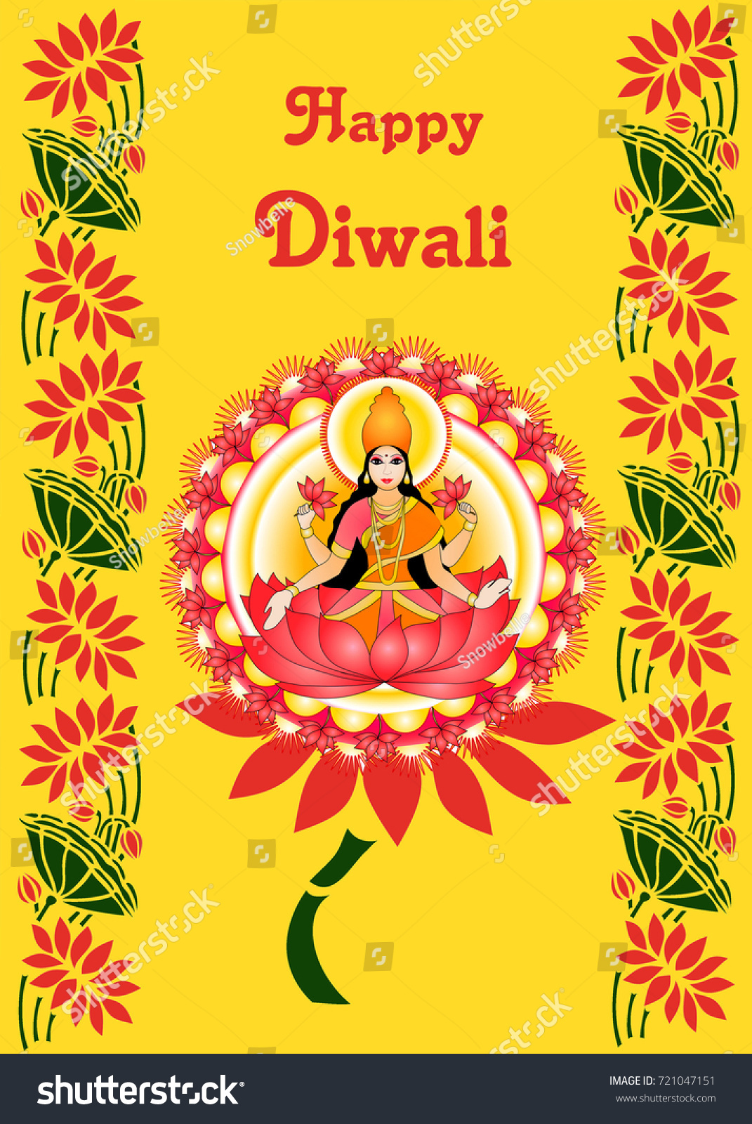 Illustration Goddess Lakshmi On Greeting Card Stock Illustration