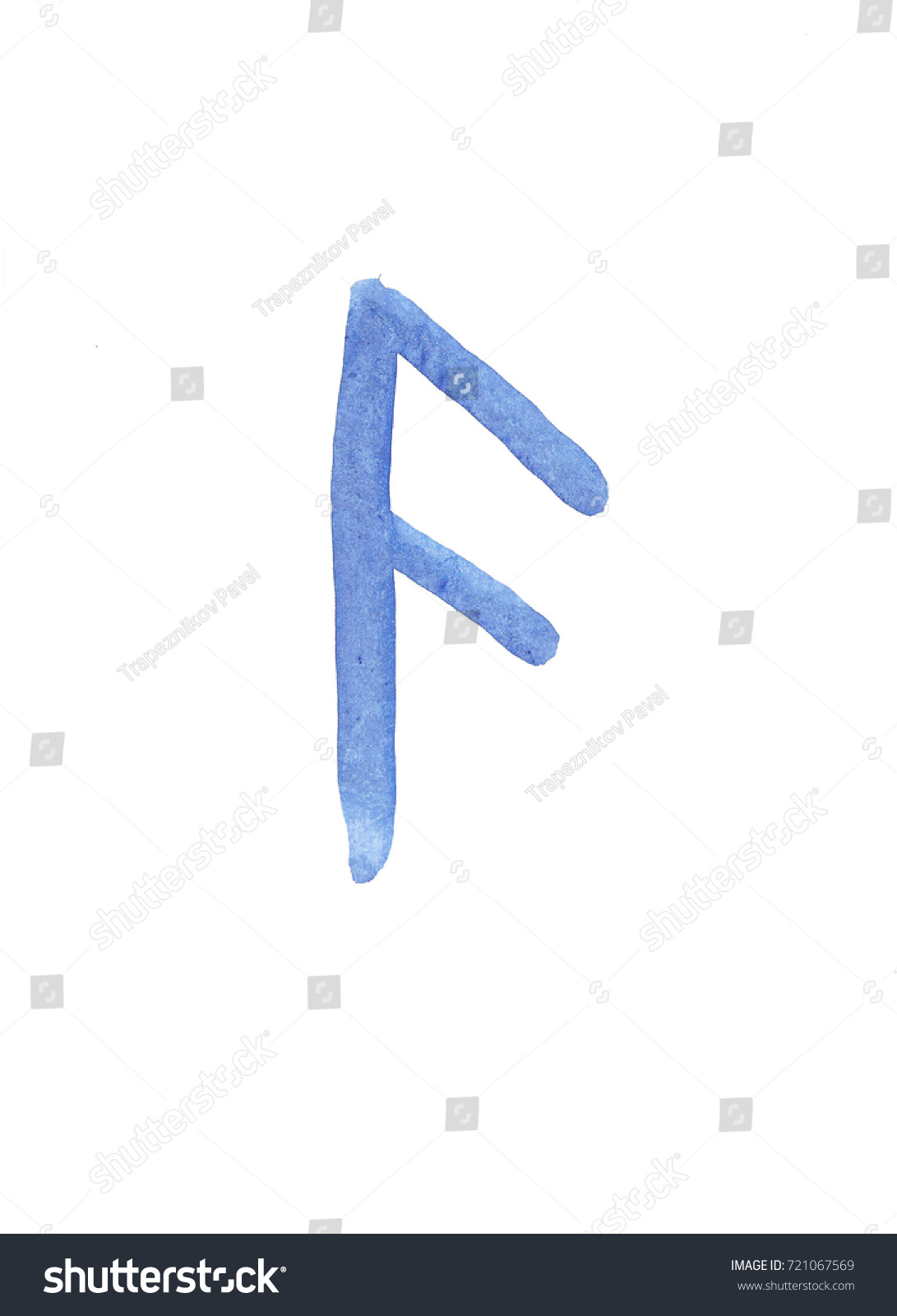 Abstract Watercolor Hand Drawn Magical Rune Stock Illustration
