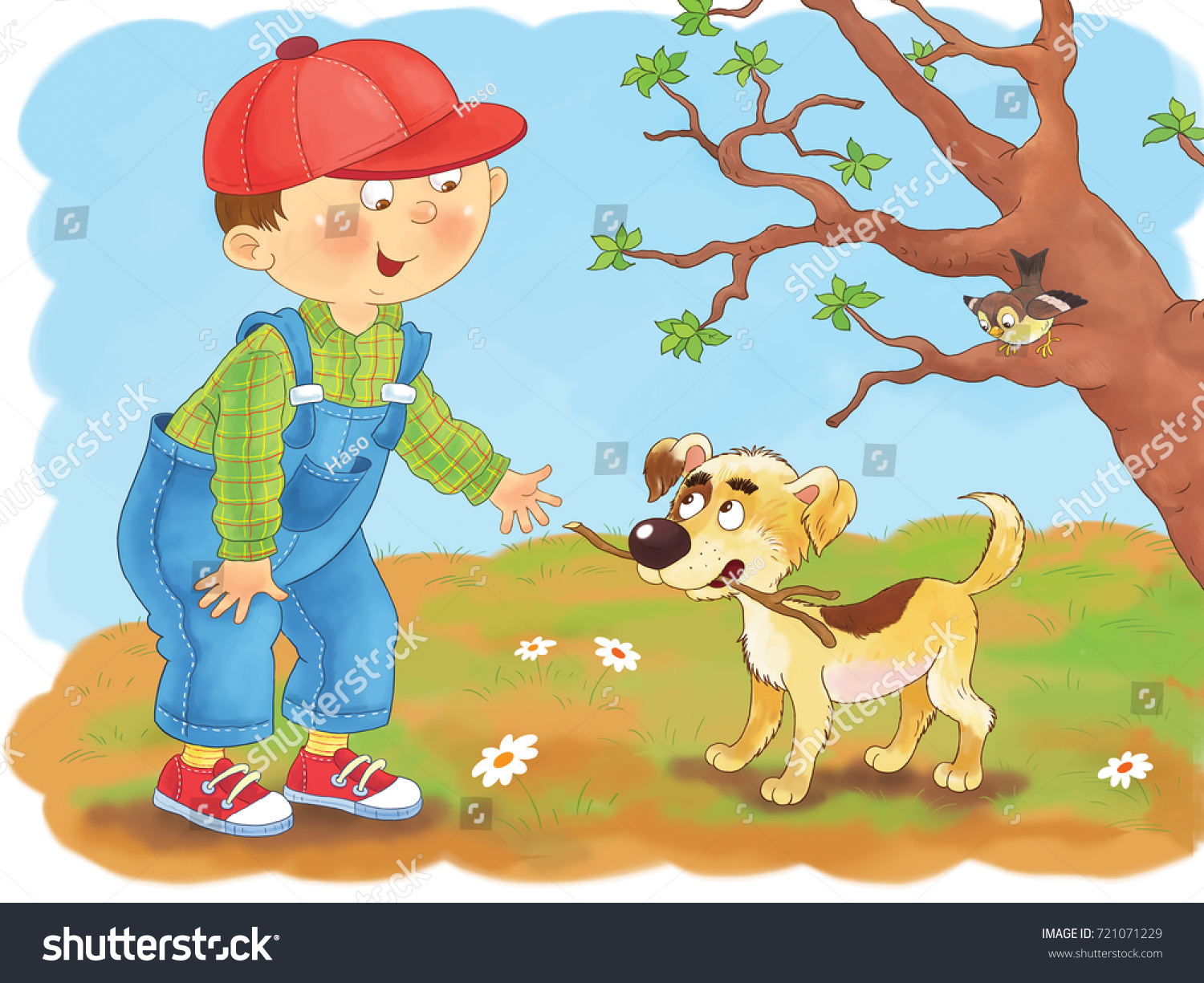 A Cute Boy And His Dog Playing Outdoors In Spring Coloring Page