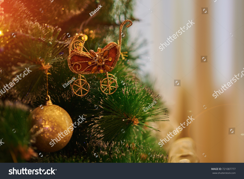 Christmas Tree Toys Handmade.Christmas Tree Toys Handmade Christmas Tree Stock Photo