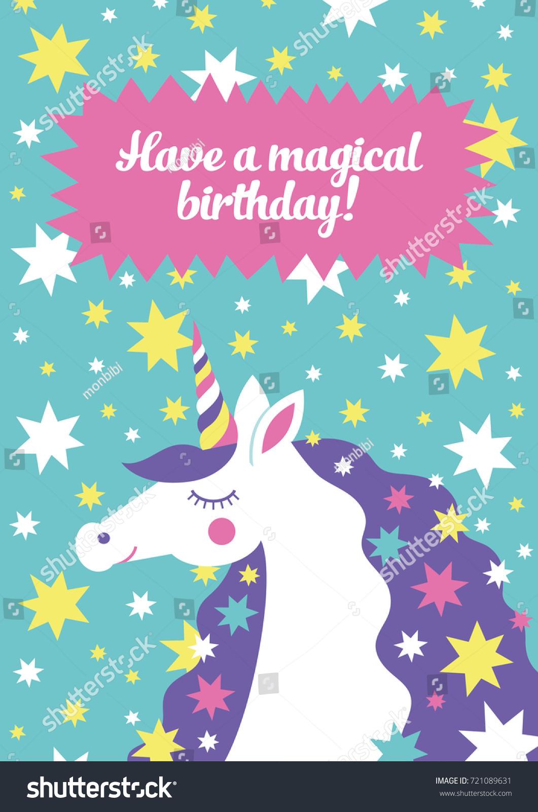 Magical Unicorn Cute Birthday Card Design Stock Vector Royalty Free
